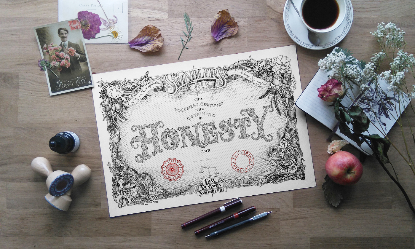 folwers certificate Certificates art print Indulgence honesty self-respect wisdom empathy quote black and white HAND LETTERING