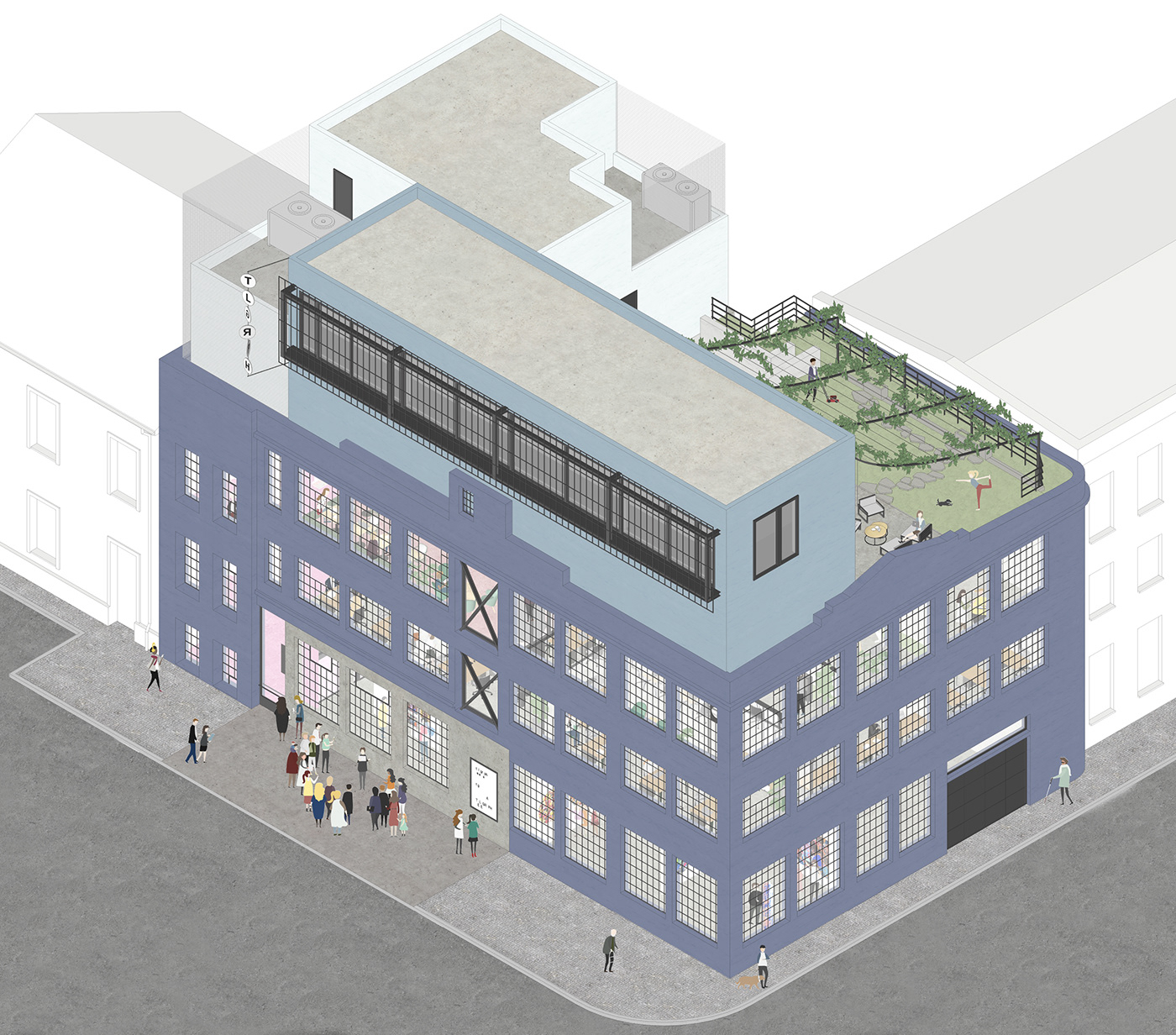 architecture axonometric axonometry building coworking exploded gallery ILLUSTRATION  model Telegraph