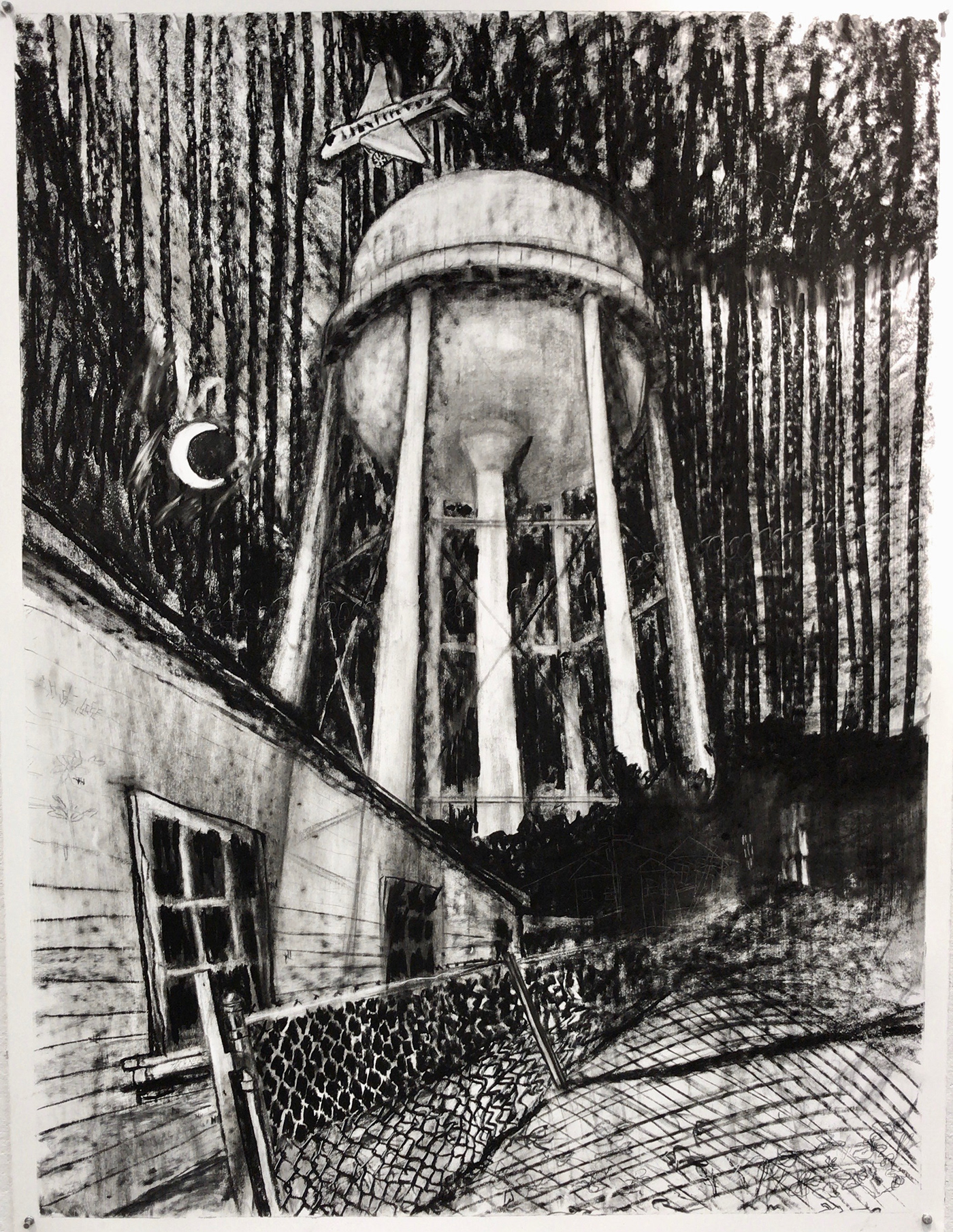 godless charcoal Drawing  Water Tower