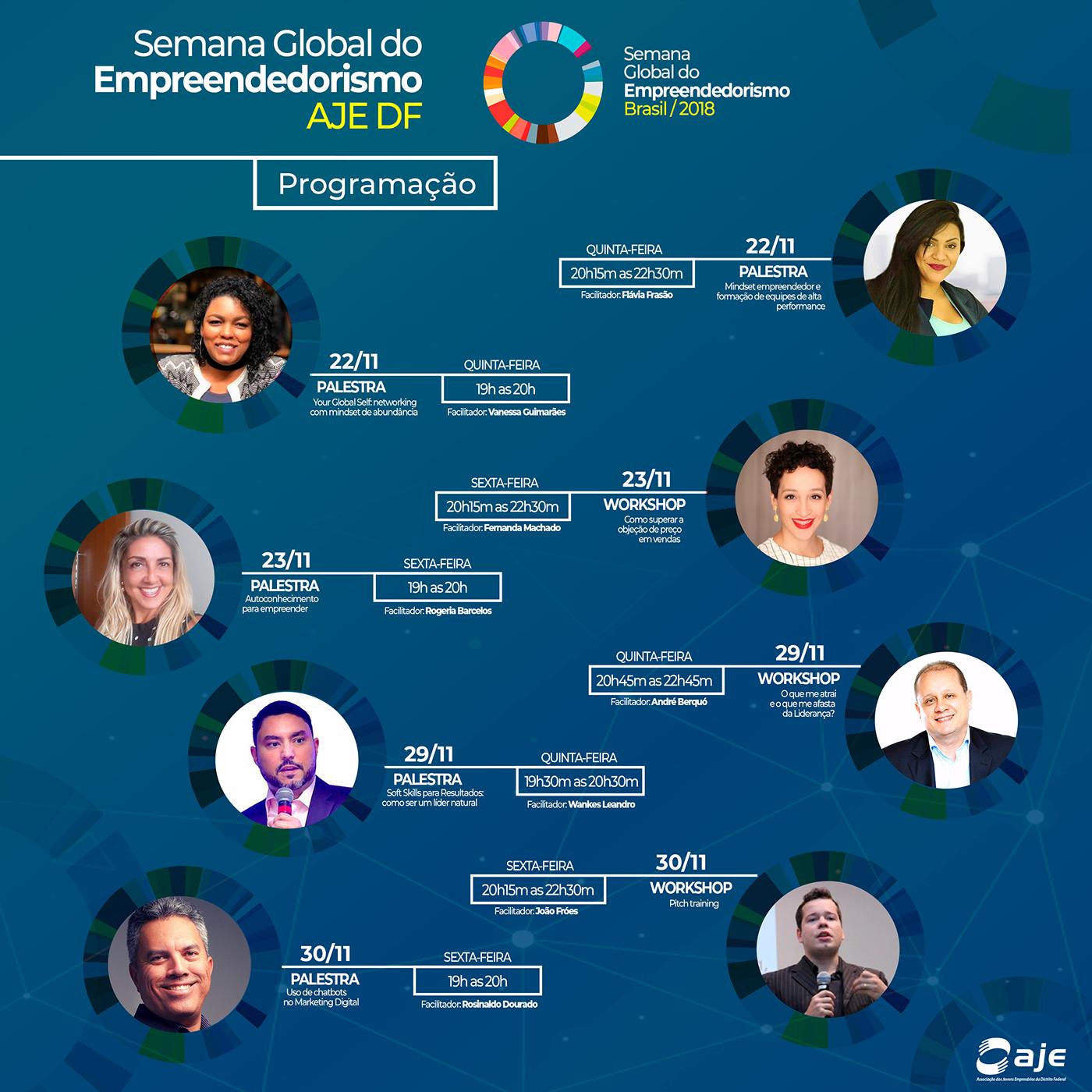 Semana Global aje campanha ads Startup Design Graphic