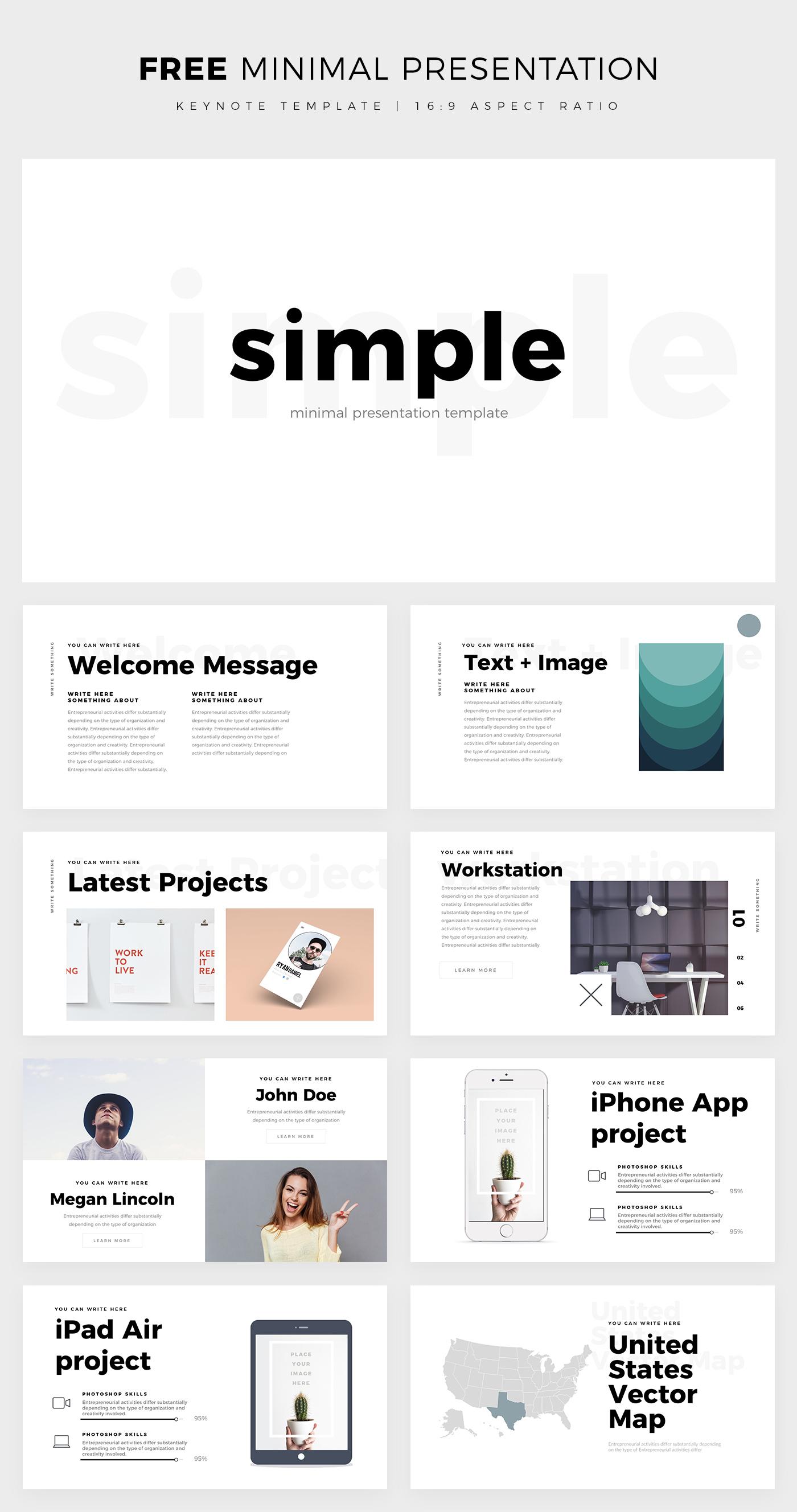 free simple minimal keynote template on behance