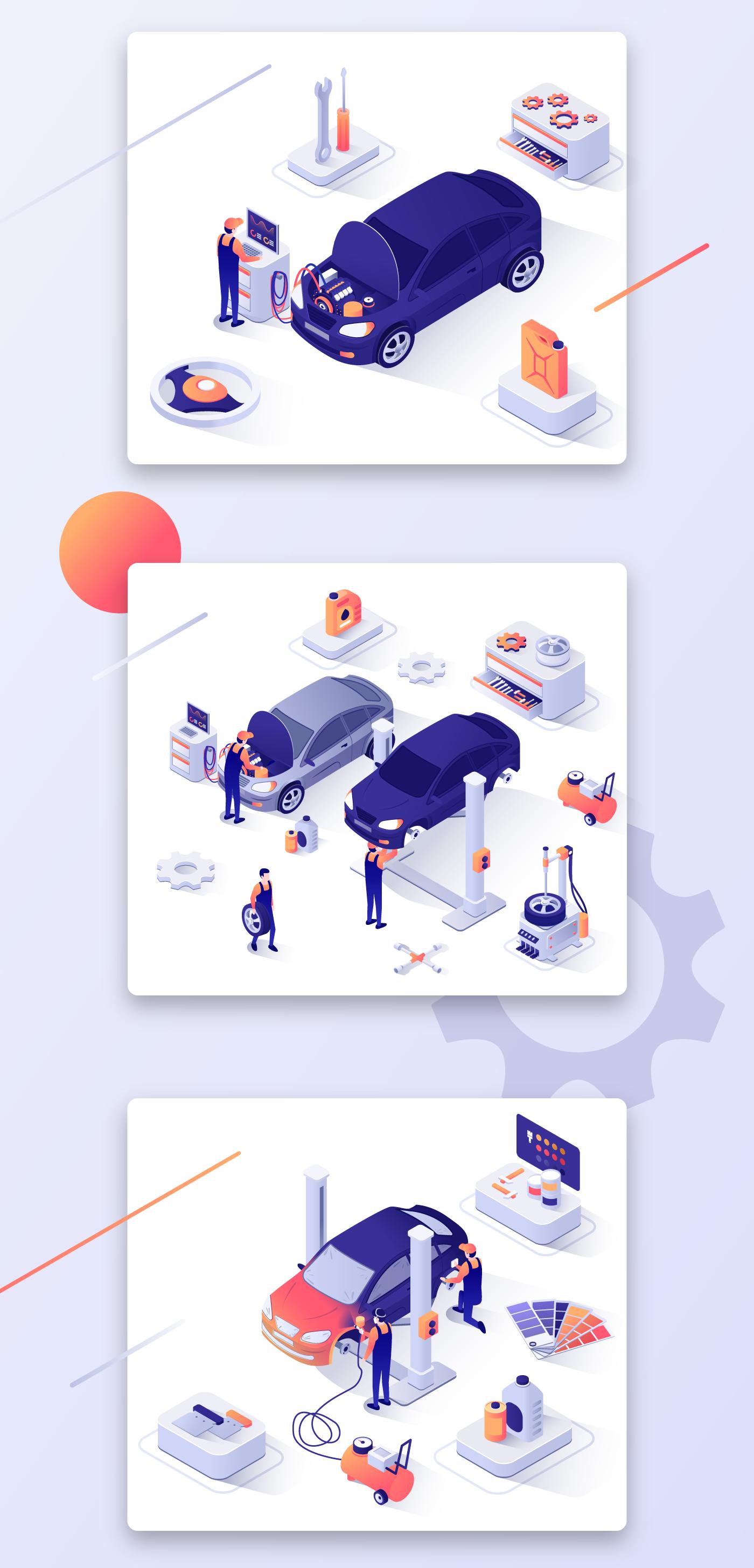 car Repair concept flat landing page Isometric art Web elements ILLUSTRATION