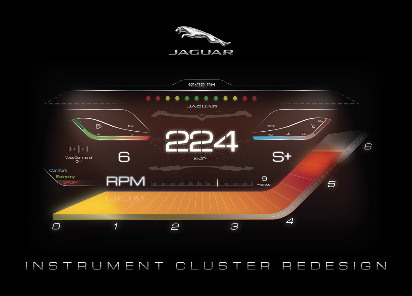 jaguar uiux modern futuristic speedometer graphic design  user interface digital dash instrument cluster  Car UI