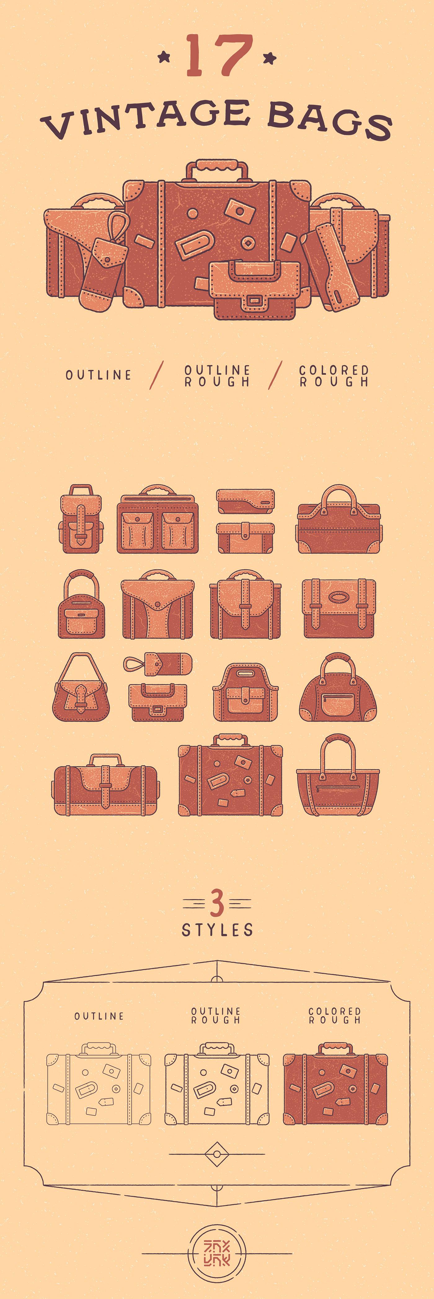 50s Antiquarian bag Icon brown set case colored icon Fashion  freebie gatsby effect