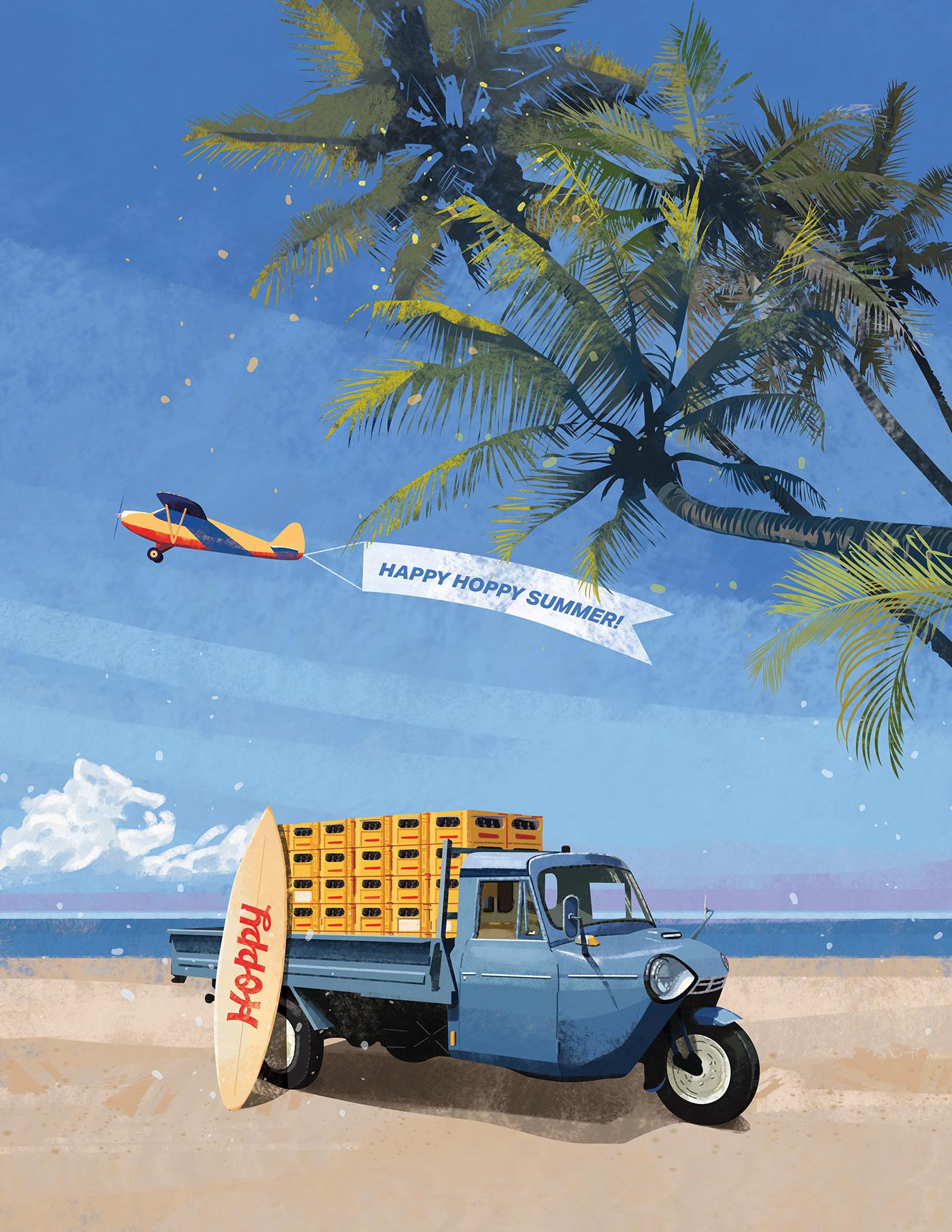 ArtDirection beach design digitalart Drawing  editorialillustration graphic ILLUSTRATION  summerillustration vanlife