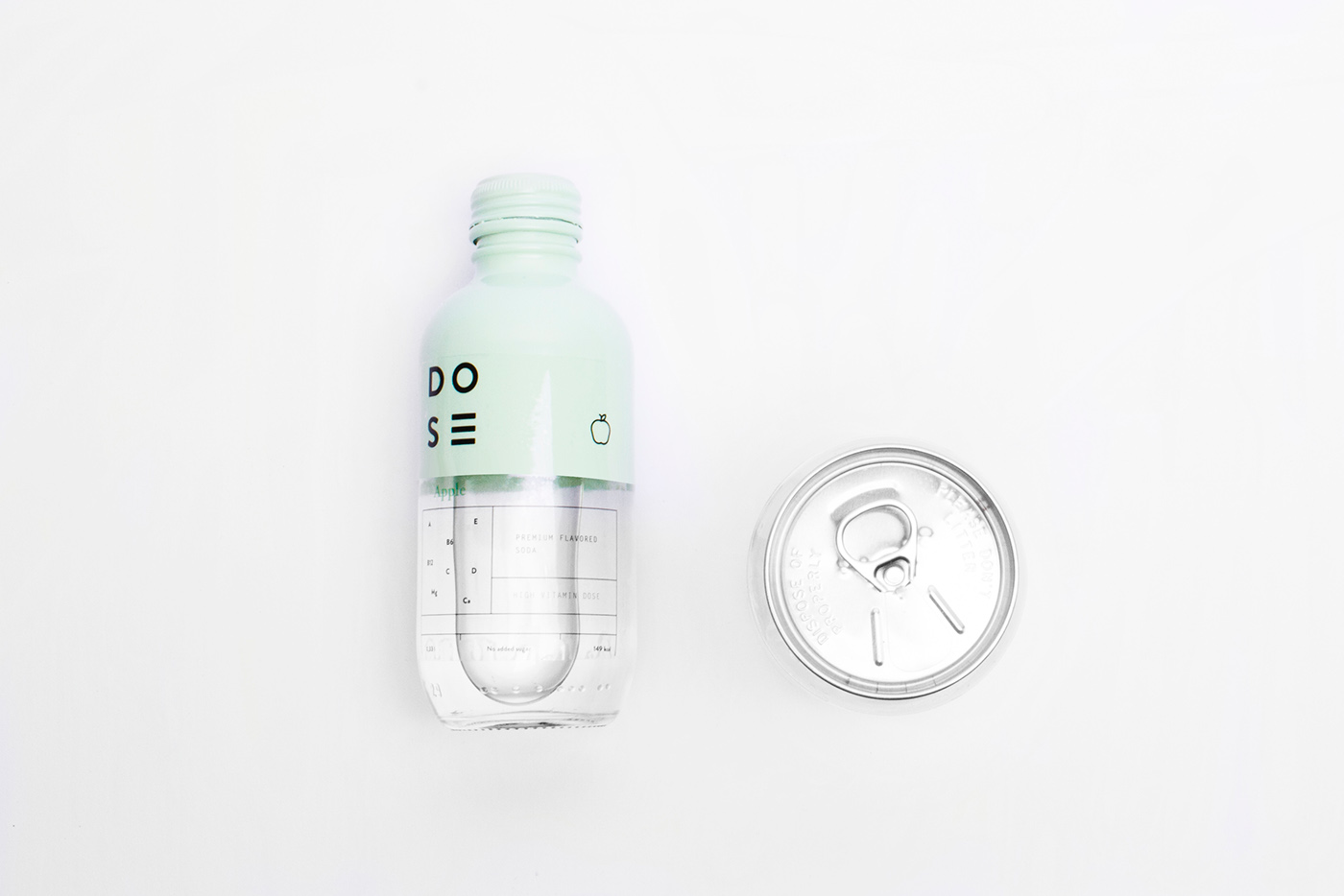 dose soda drink brand Pack bottle glass color Fruit logo geometric graphic design typo identity