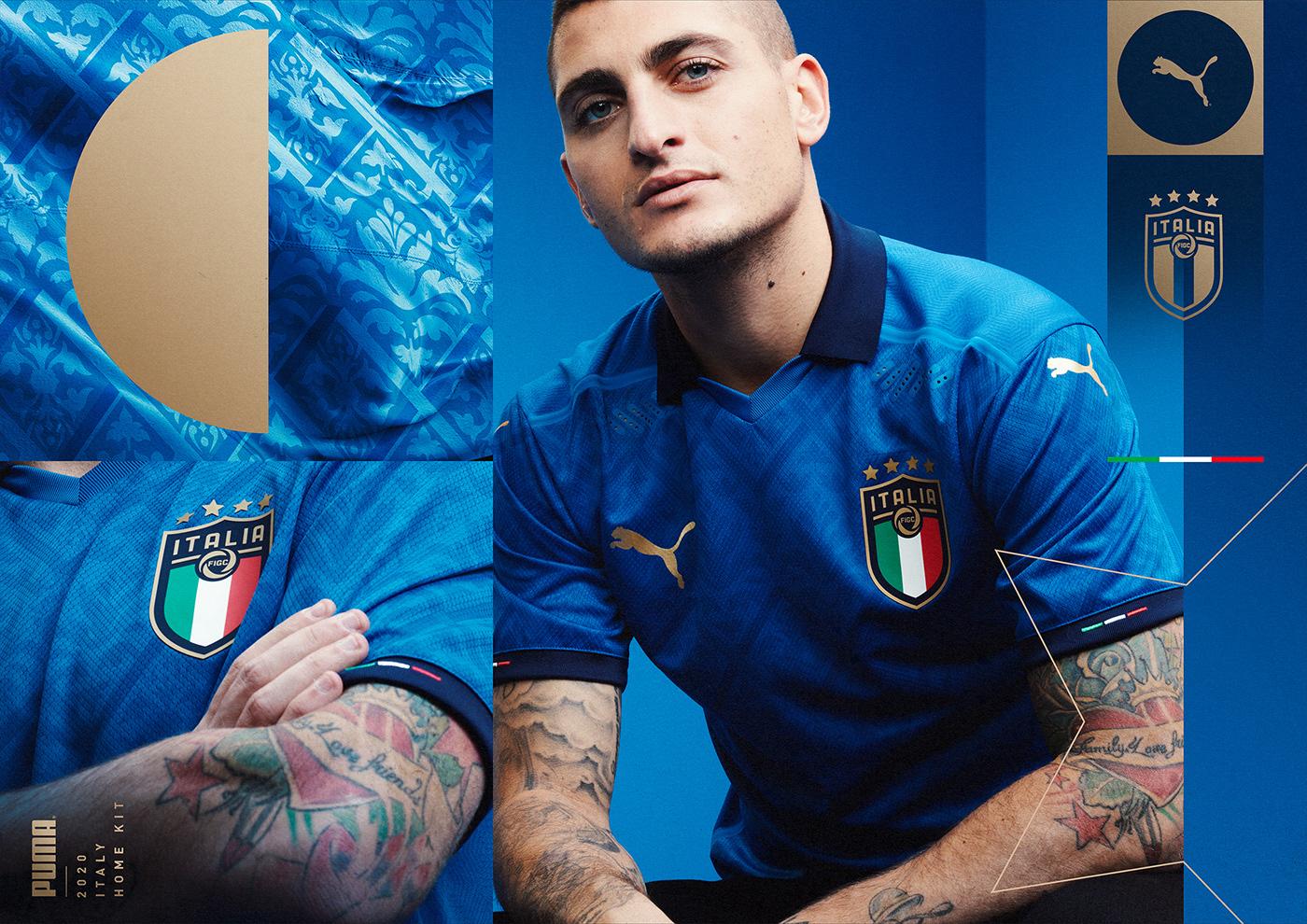 blue football grid Italy Keyvisual print puma soccer sports visual identity