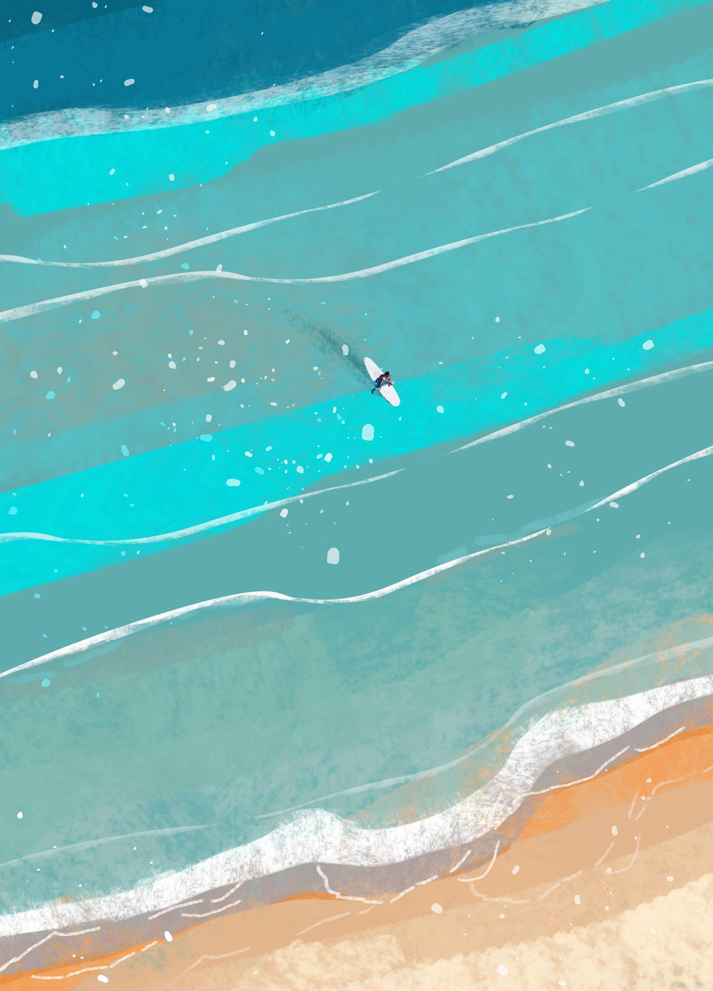 ArtDirection beach creative design digitalart digitalpainting editorial graphic ILLUSTRATION  summer