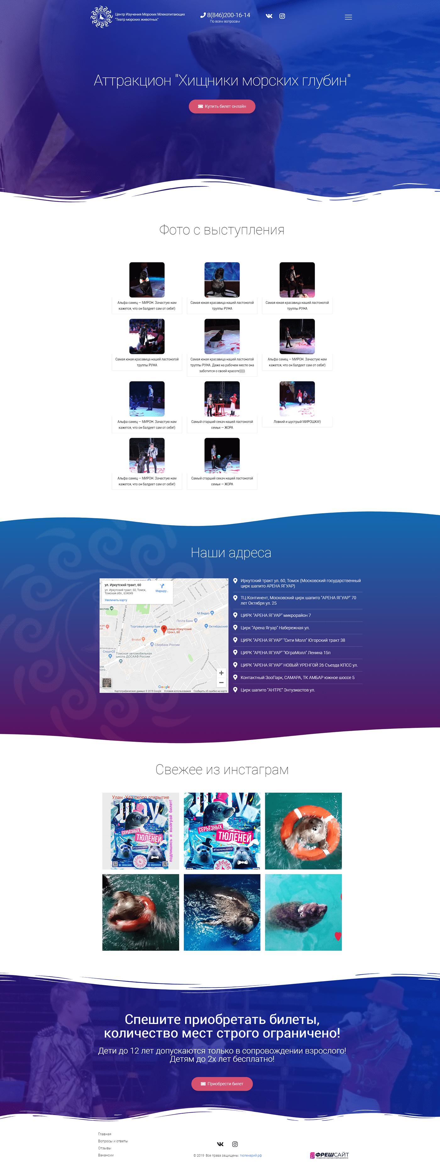 цырк,морские котики,wordpress,elementor,Театр морских животных,сайт-визитка