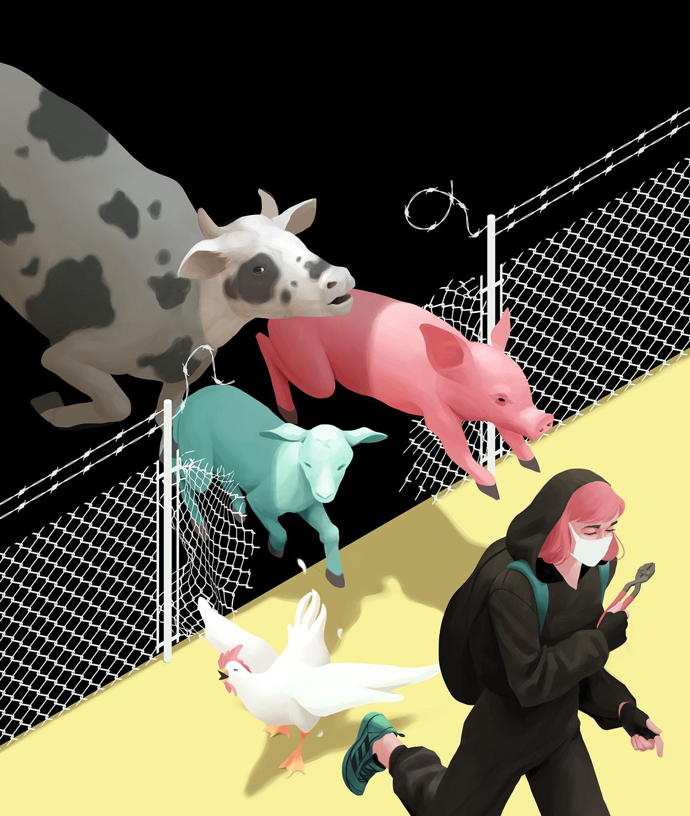 2D animals digital painting ILLUSTRATION  personal project Personal Work vegan veganism