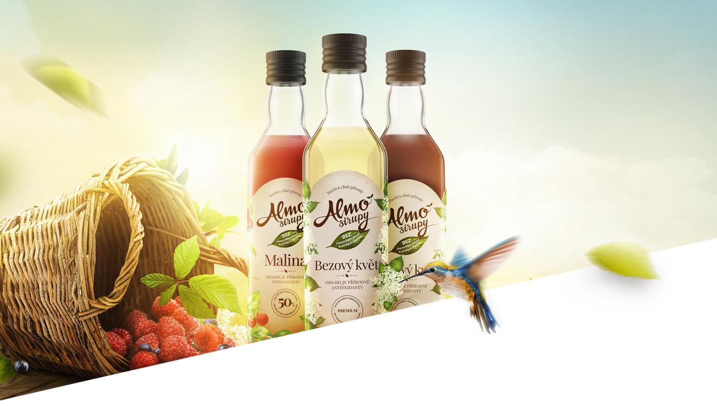 syrup Fruit natural bio taste Nature bottle package CGI fresh