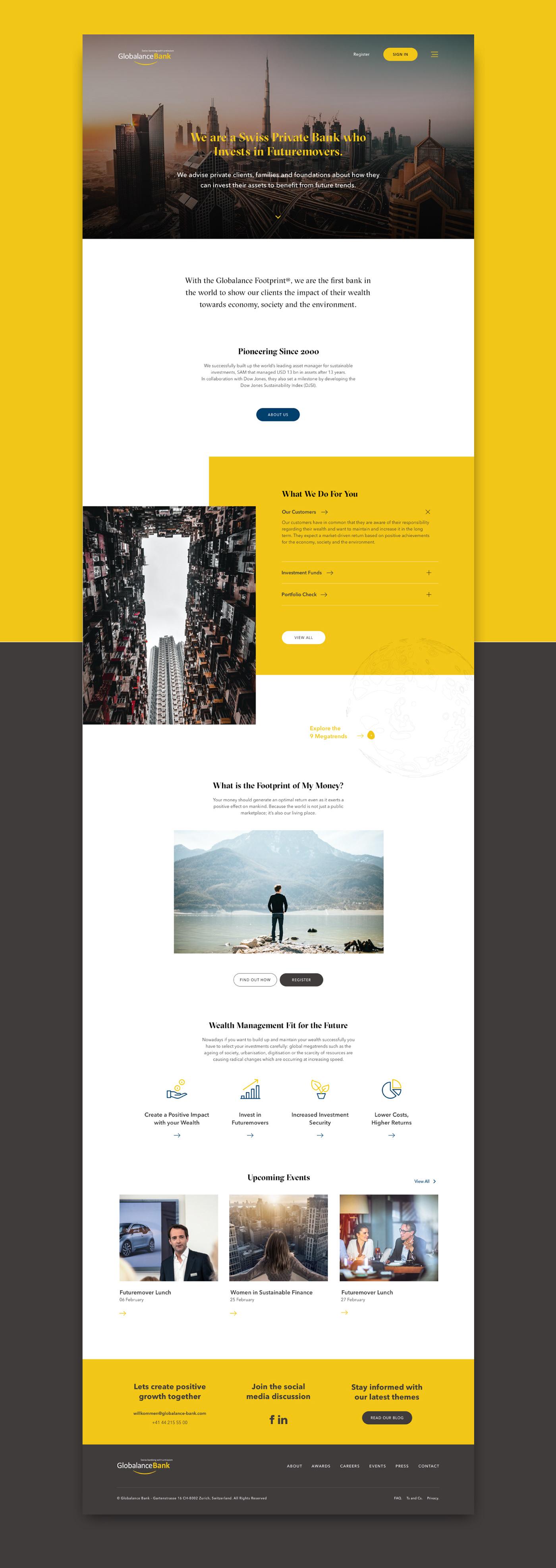 bank website banking finance homepage UI ux Web Design  Website Website Design yellow
