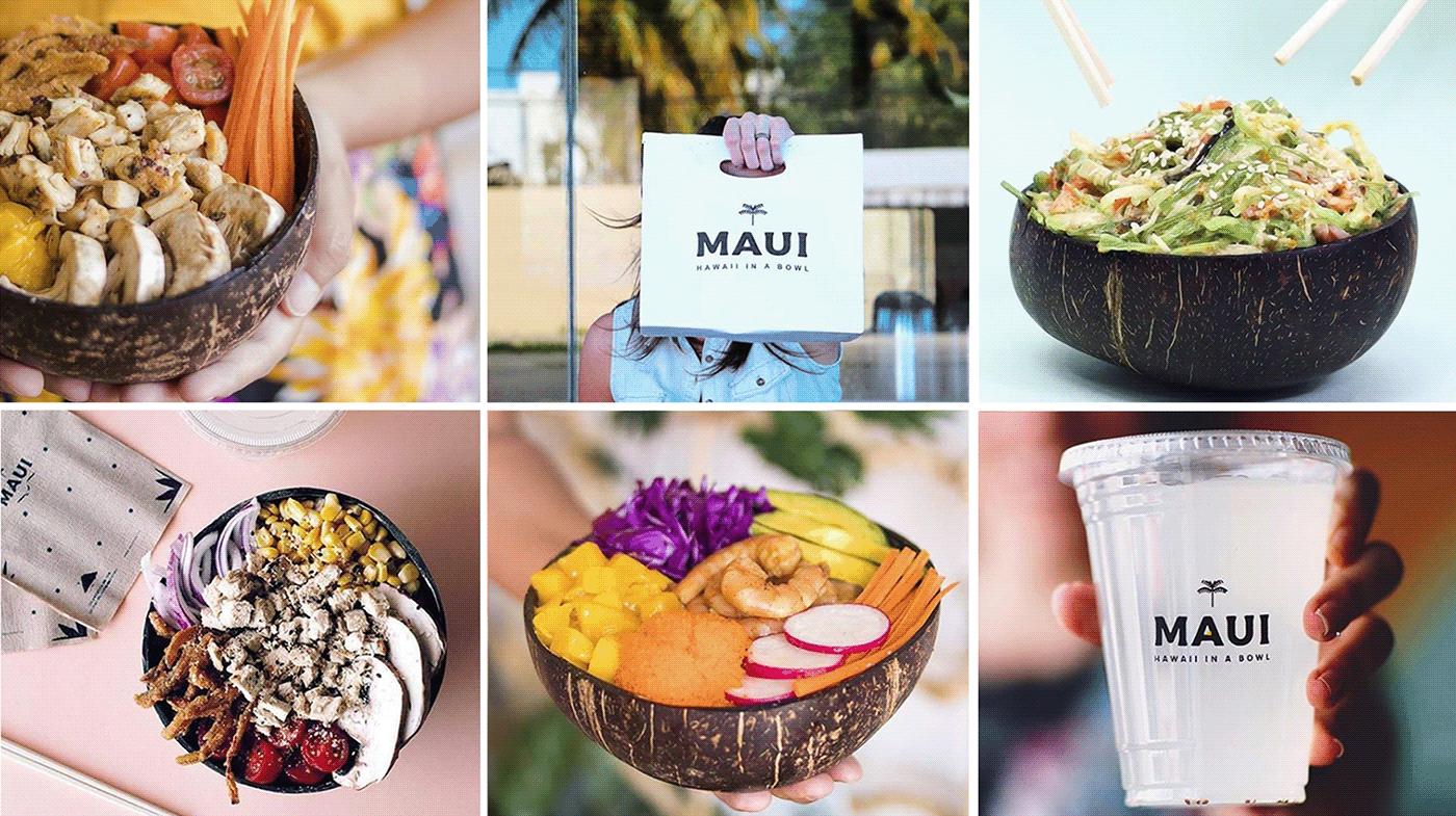 poke color Tropical bowl Food  brand ILLUSTRATION  restaurant HAWAII beach