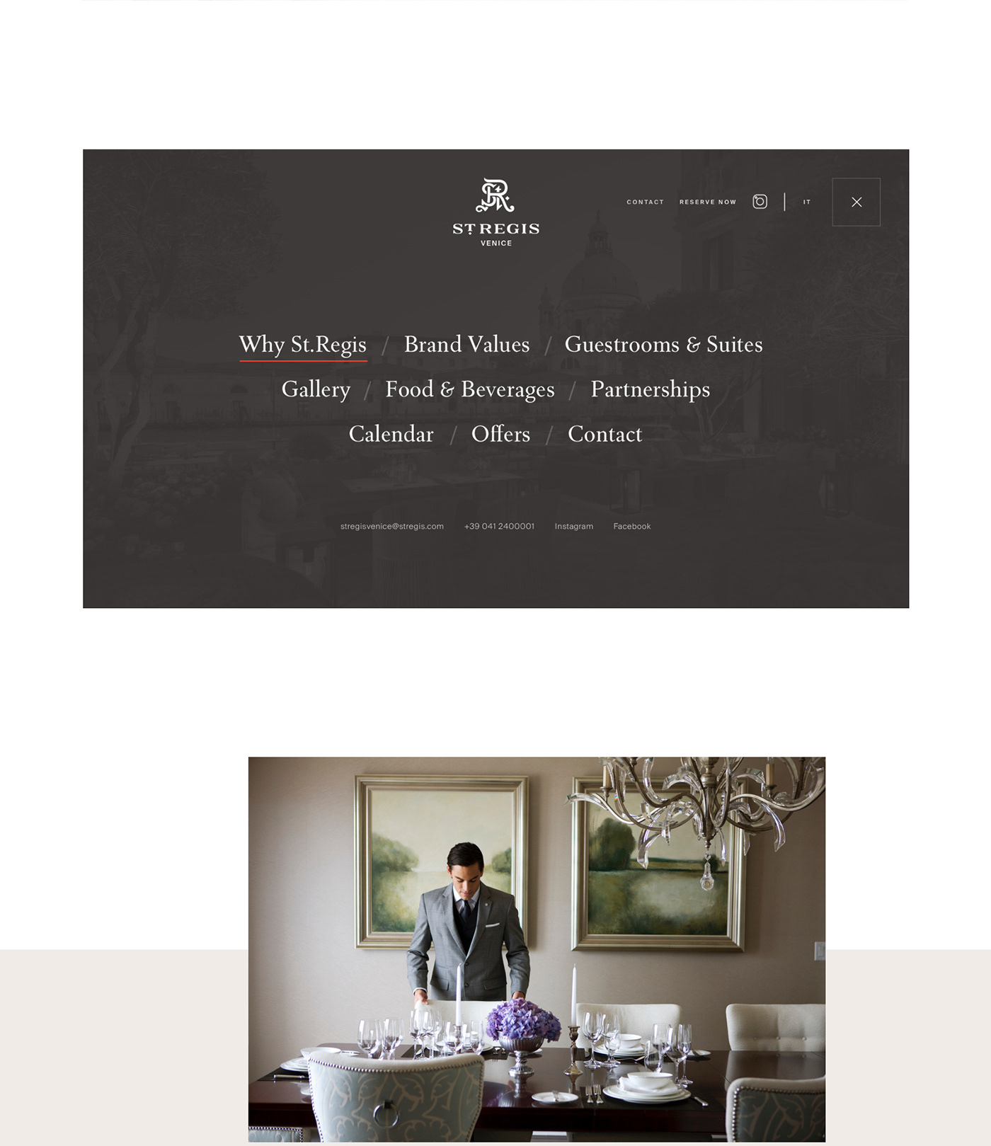 Menu of the website of the St.Regis one pager