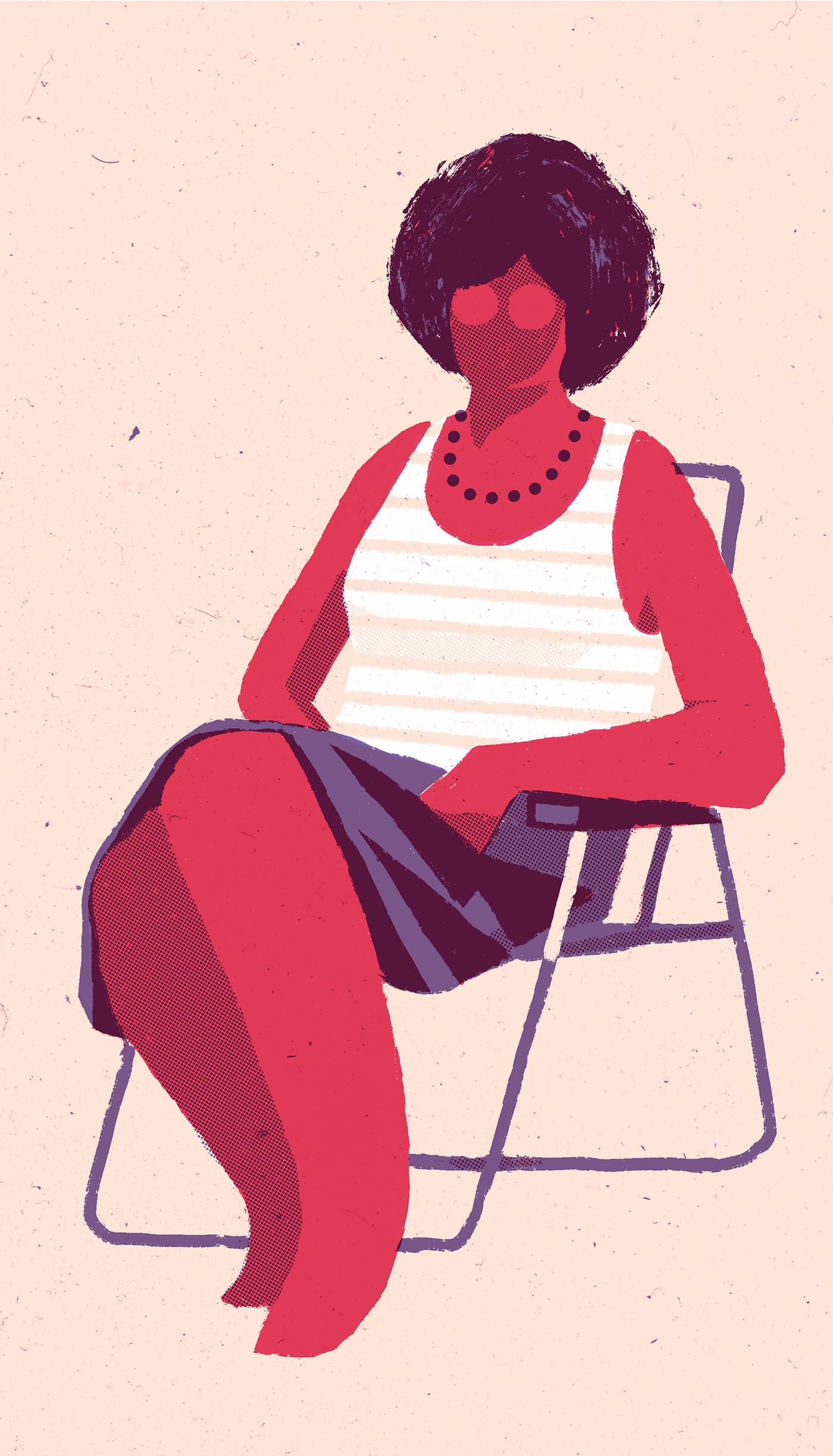 3-tone chair girl risograph screenprint vintage
