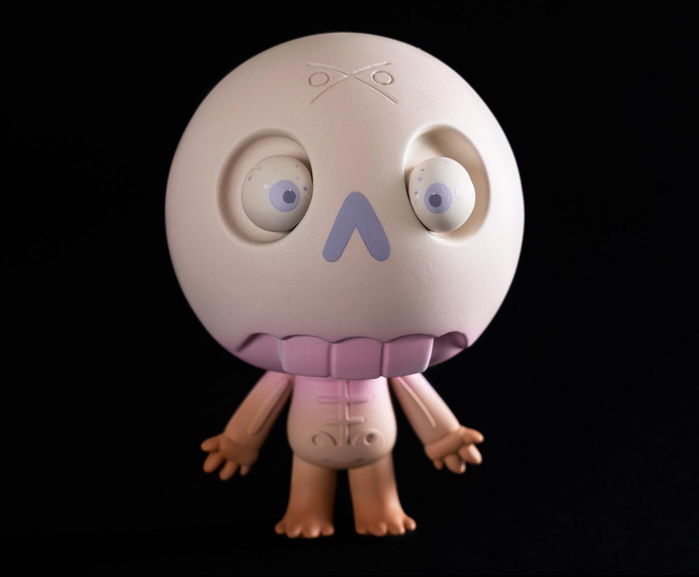 artoy Character design  Custom handmade sculpture skull toy toy design  toys