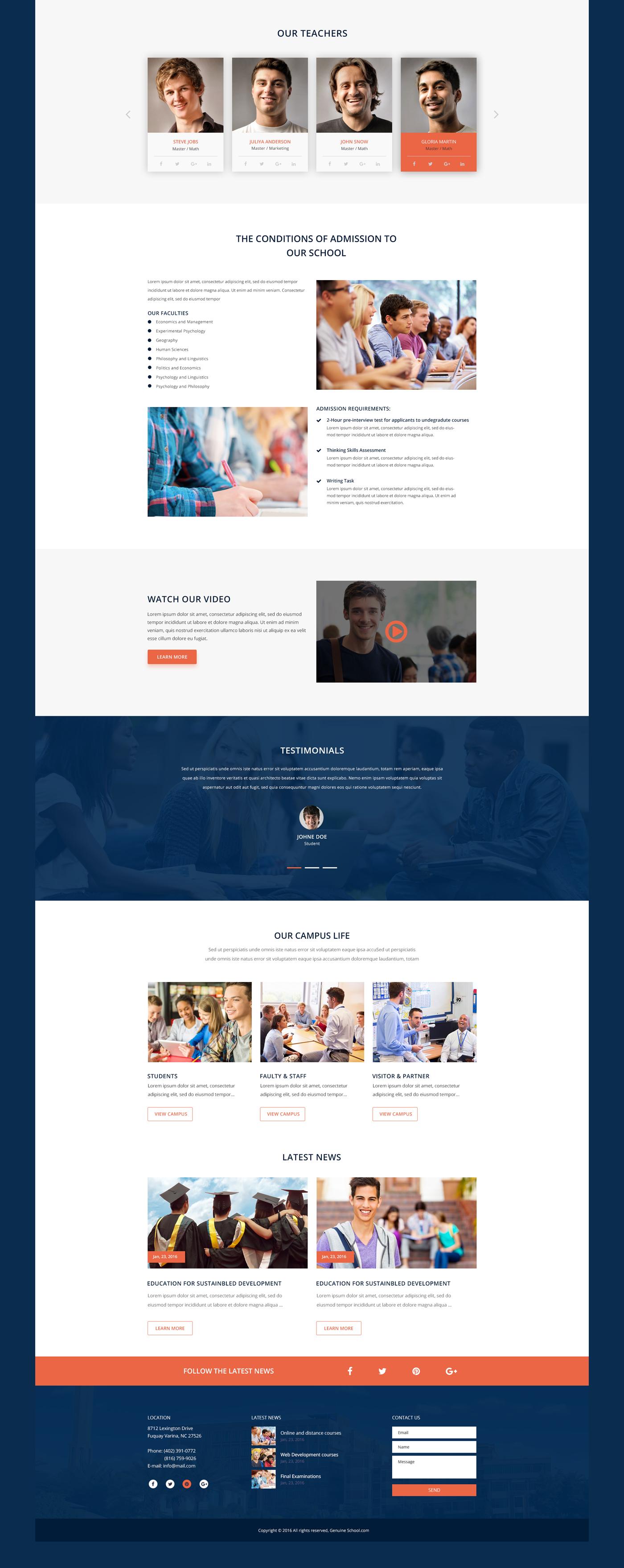 Genuine - School Web Template FREE PSD Download