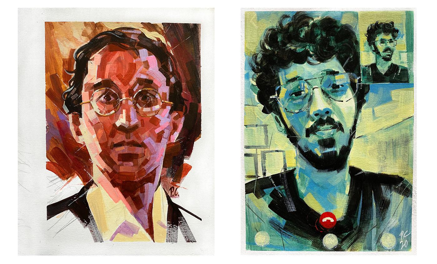 acrylic painting art Drawing  FINEART ILLUSTRATION  painting   portrait portrait illustration portrait study