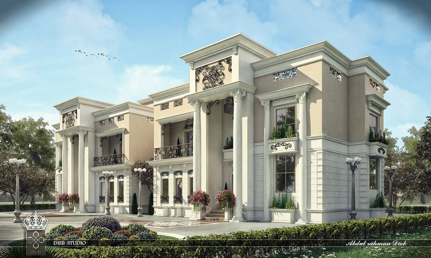 Classical Front Elevation Designs : Twin villa on behance
