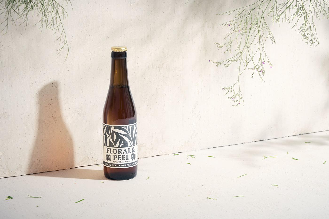 beer botanical branding  design flower Logo Design package design  Packaging pattern print