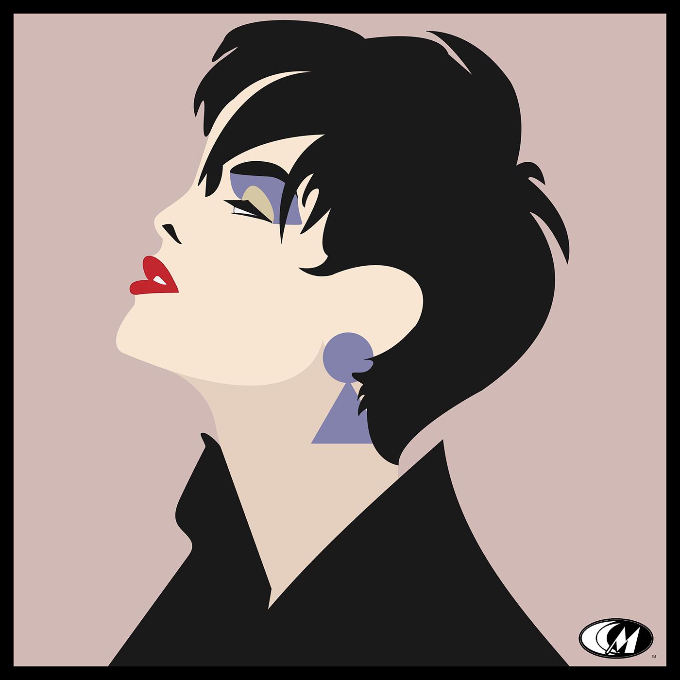 Fashion  minimalist Monochromatic vector black hair contemporary design lipstick beauty earrings