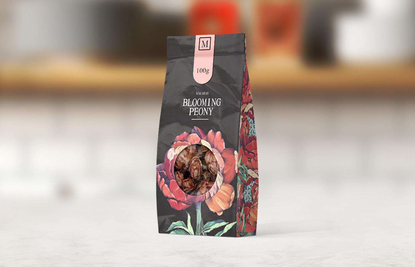 drink flower Food  ILLUSTRATION  package Packaging Plant print tea