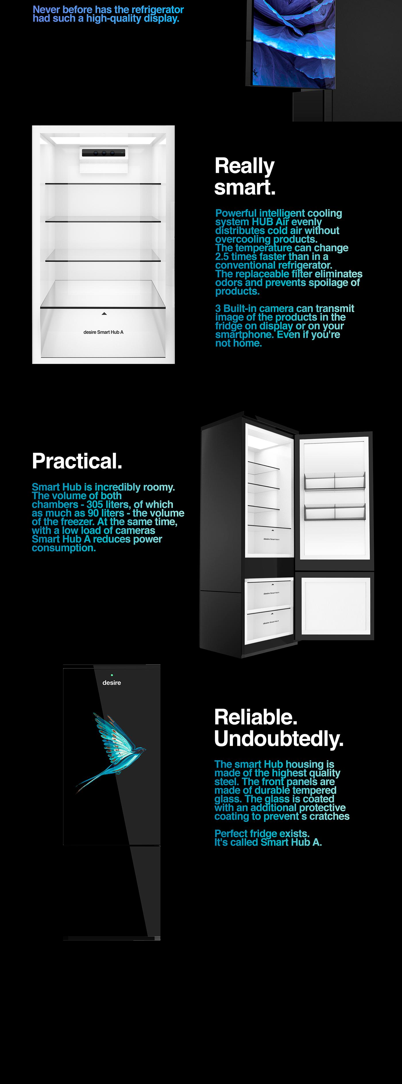 product refrigerator fridge Metall glass future minimal Smart