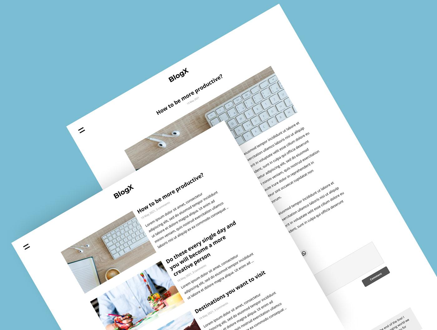 Blog design minimalist UI Web