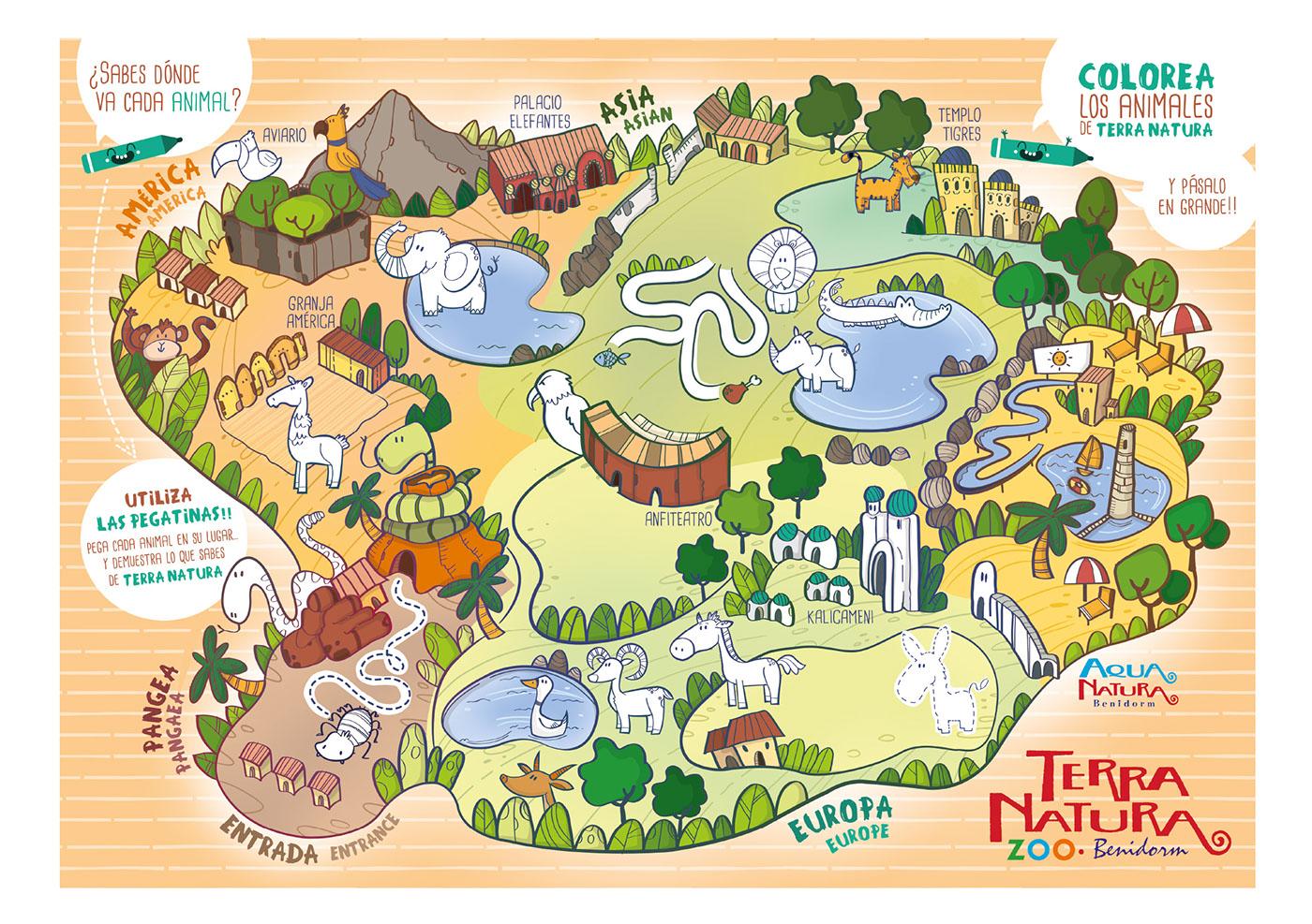 actividades infantil ilustracion terra natura diseño gráfico mapa