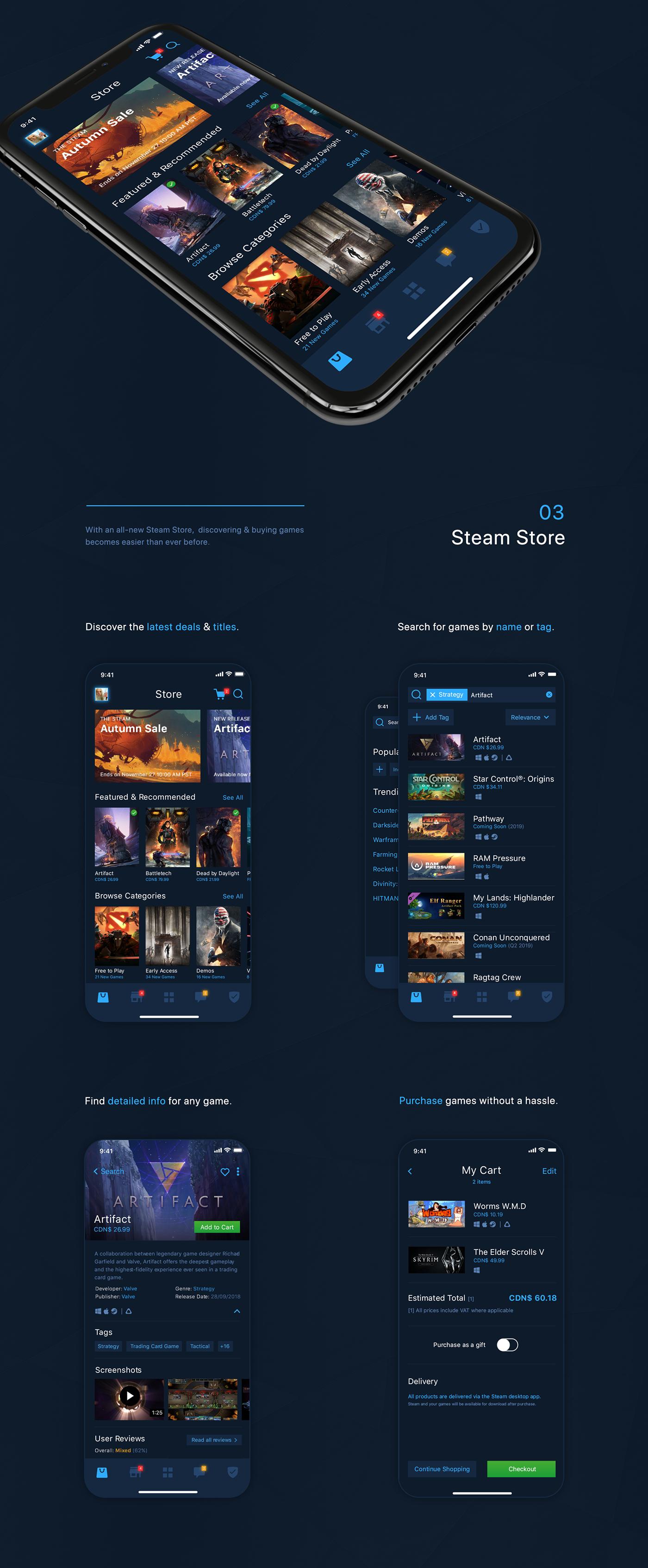 UI ios mobile Steam Valve redesign concept Gaming Videogames ux