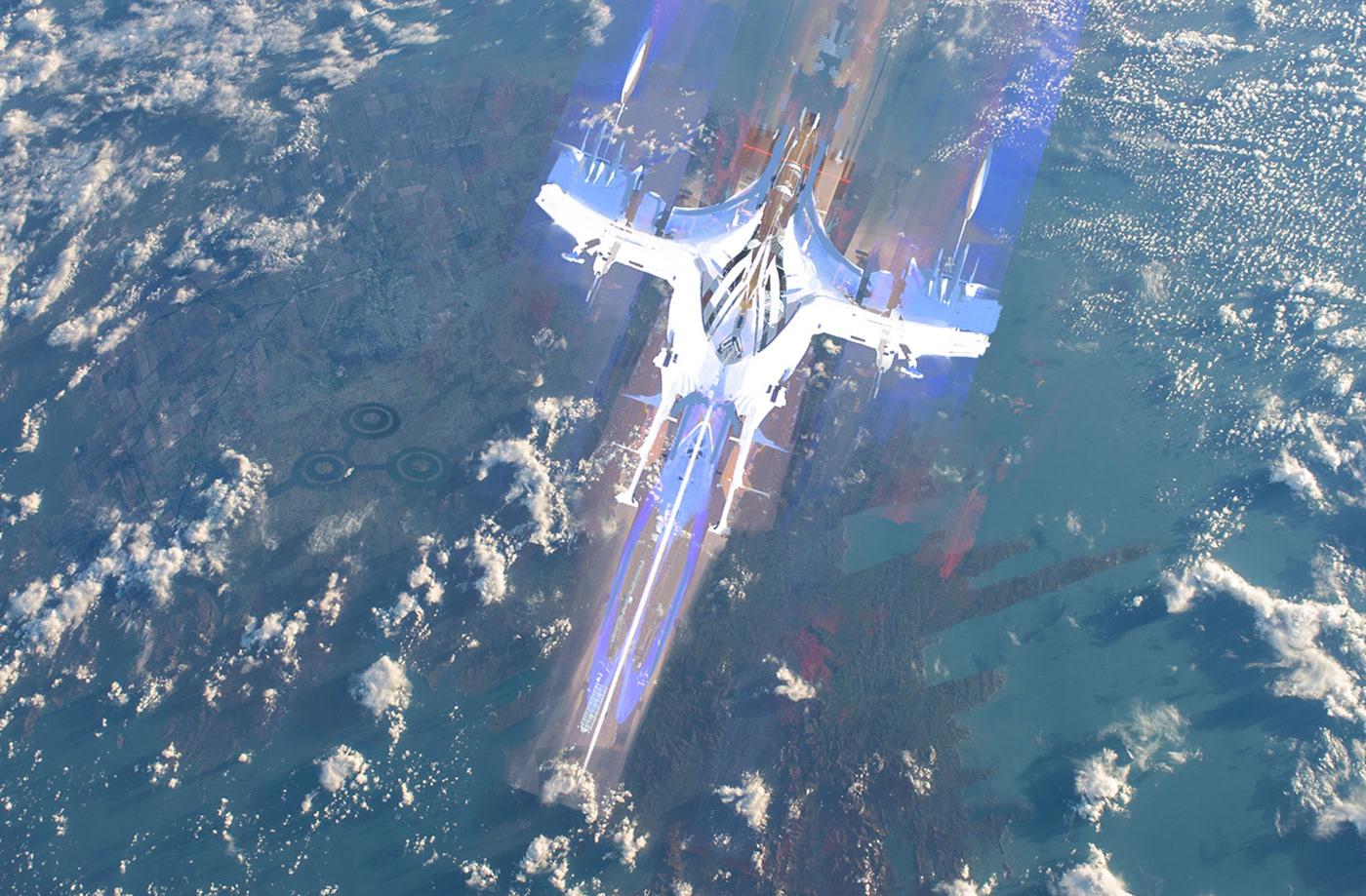 Space  ships sketch design ILLUSTRATION