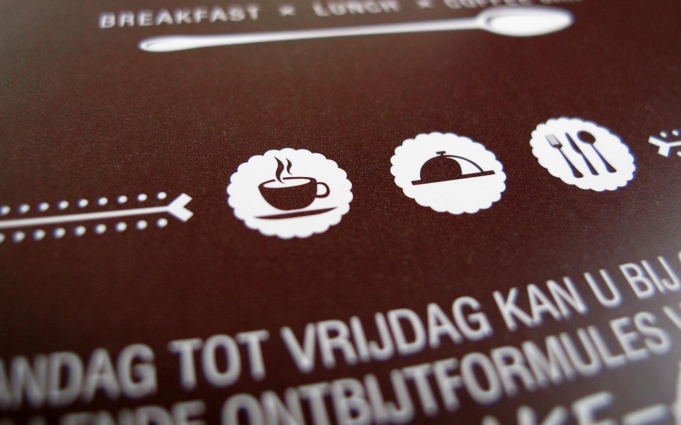 breakfast lunch brasserie corpoate ID business card Rubber Stamp loyalty card flyer logo spot color