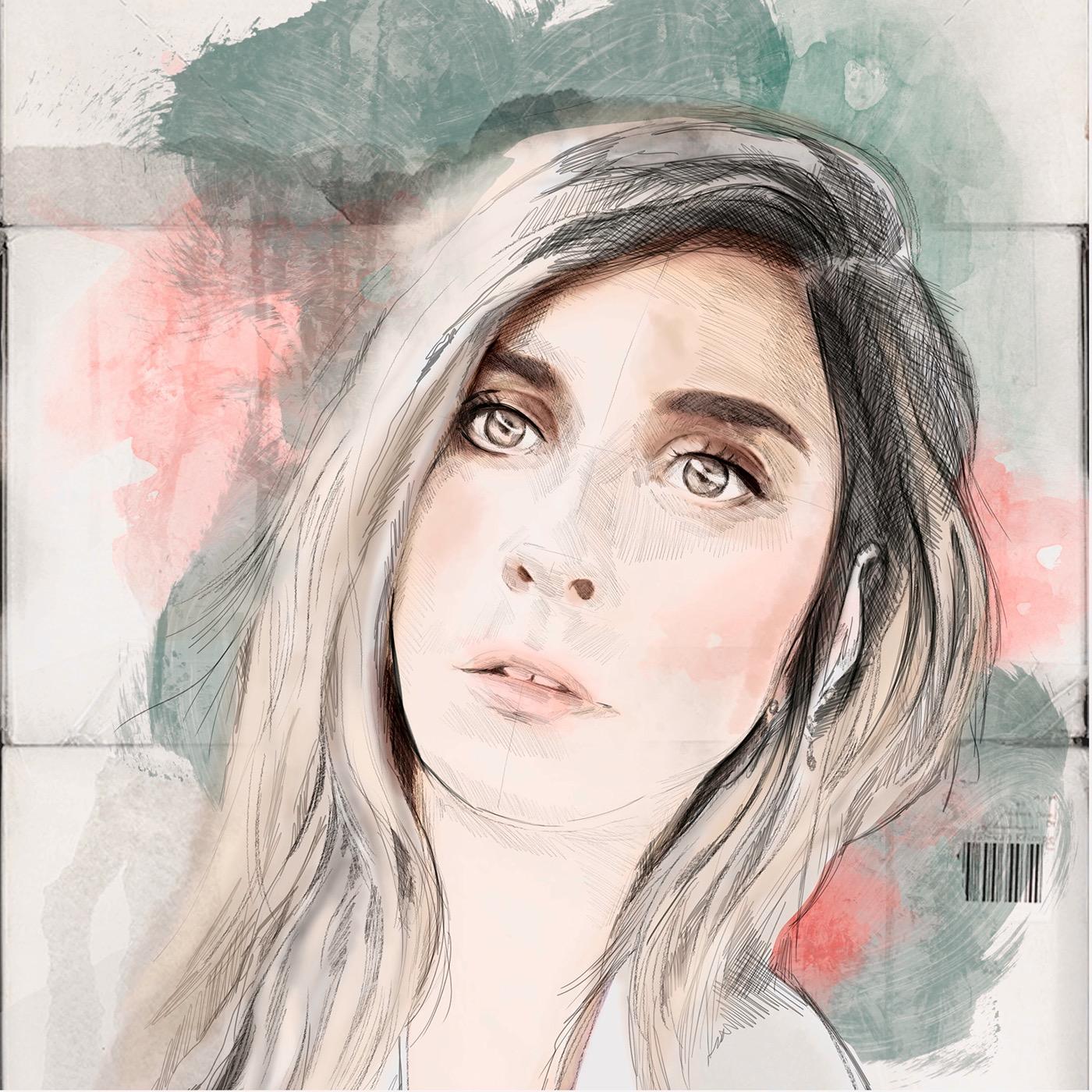 María León Barrios boceto pinceles sketch Cintiq