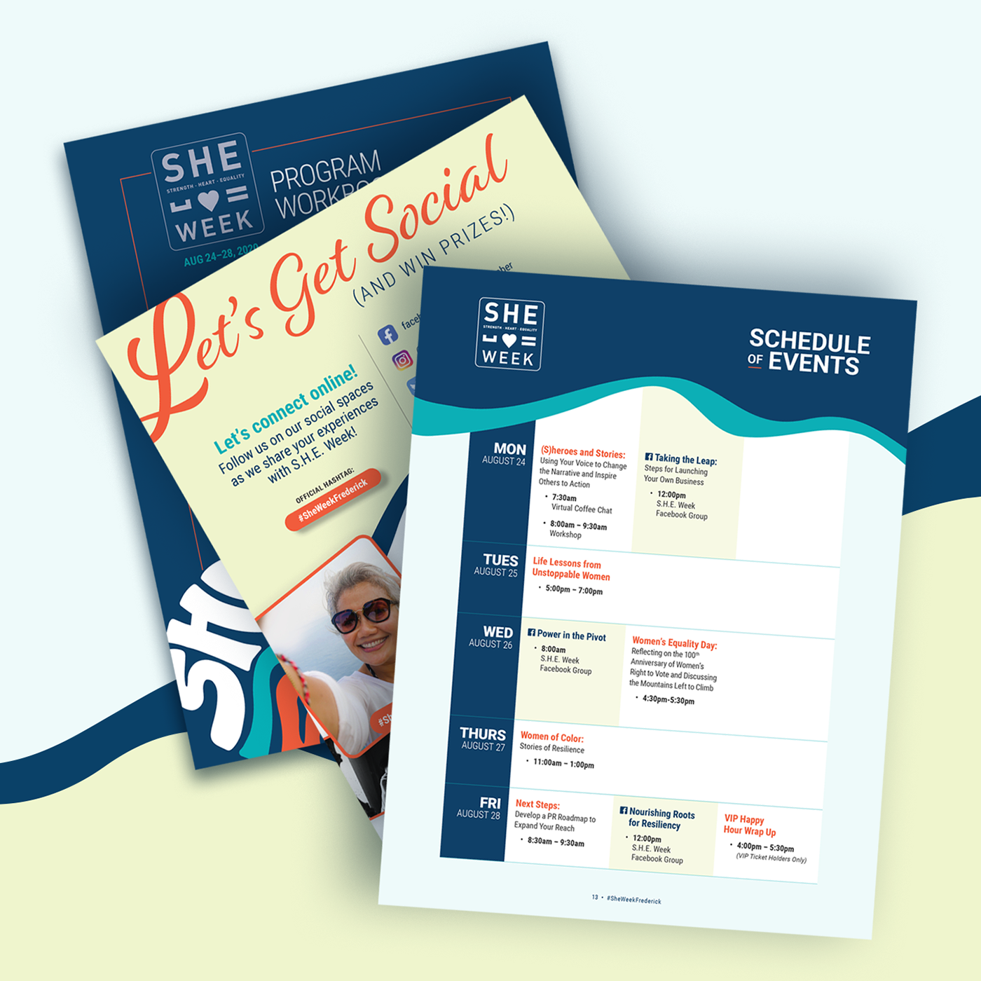 Sample pages of the SHE Week Program workbook