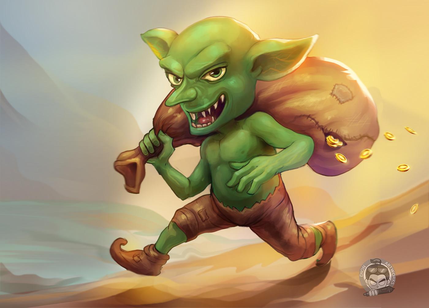 2D art fantasy game goblin Goblin Digital Art ILLUSTRATION  painting