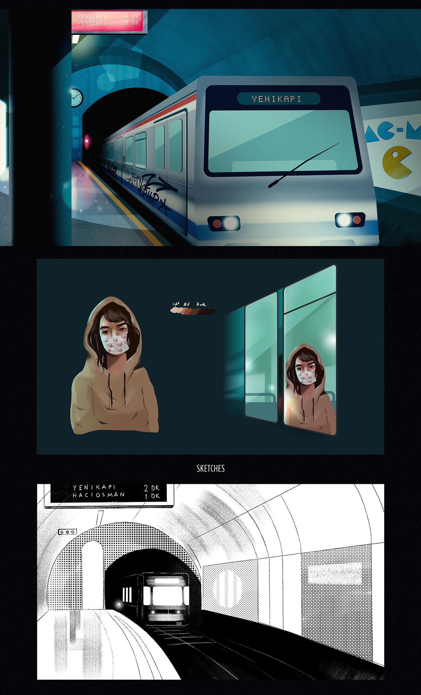 2D animation  city ferry girl ILLUSTRATION  neon subway art motion