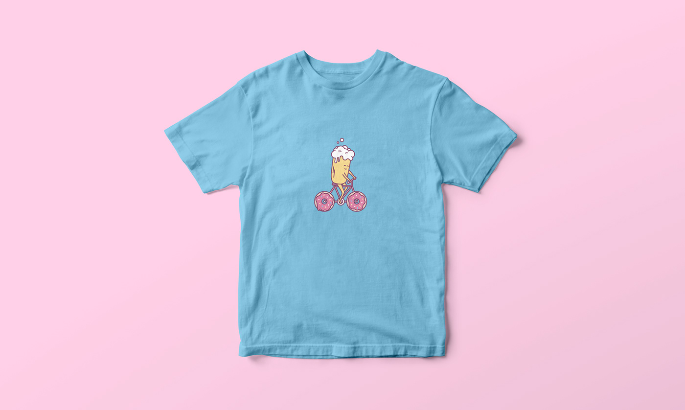 ILLUSTRATION  beer Donuts Playful minimalistic quirky cute