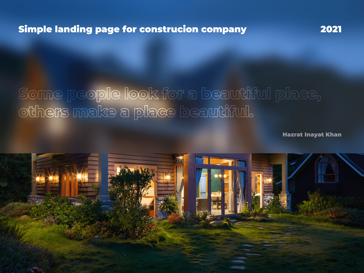 Landing page for construction company intro