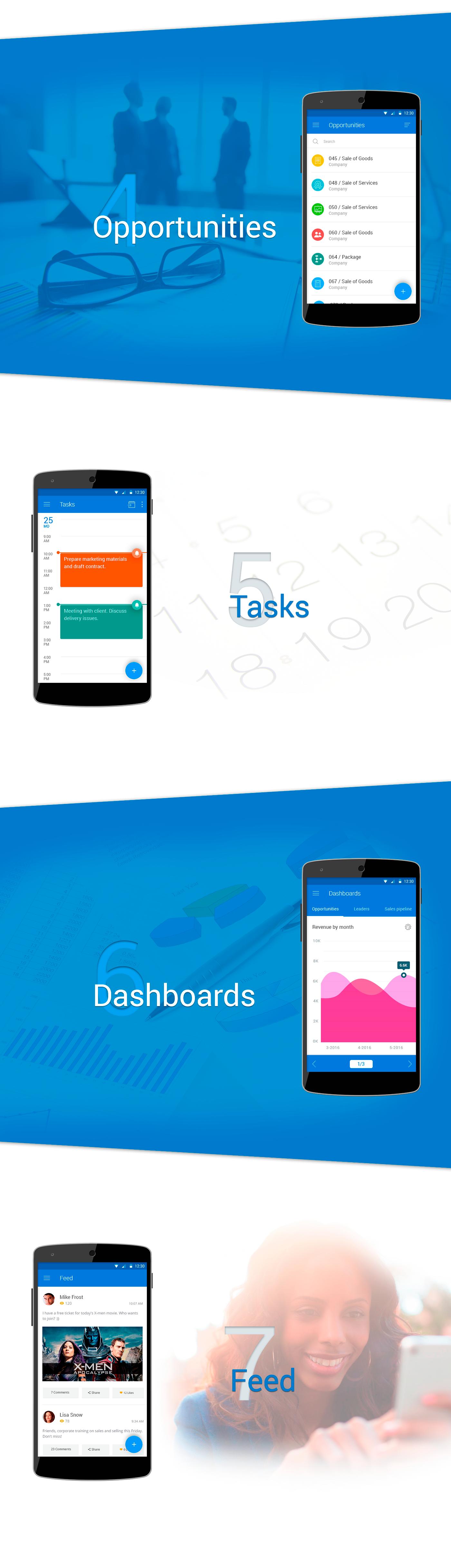 CRM Mobile app prototype free psd Mockup template