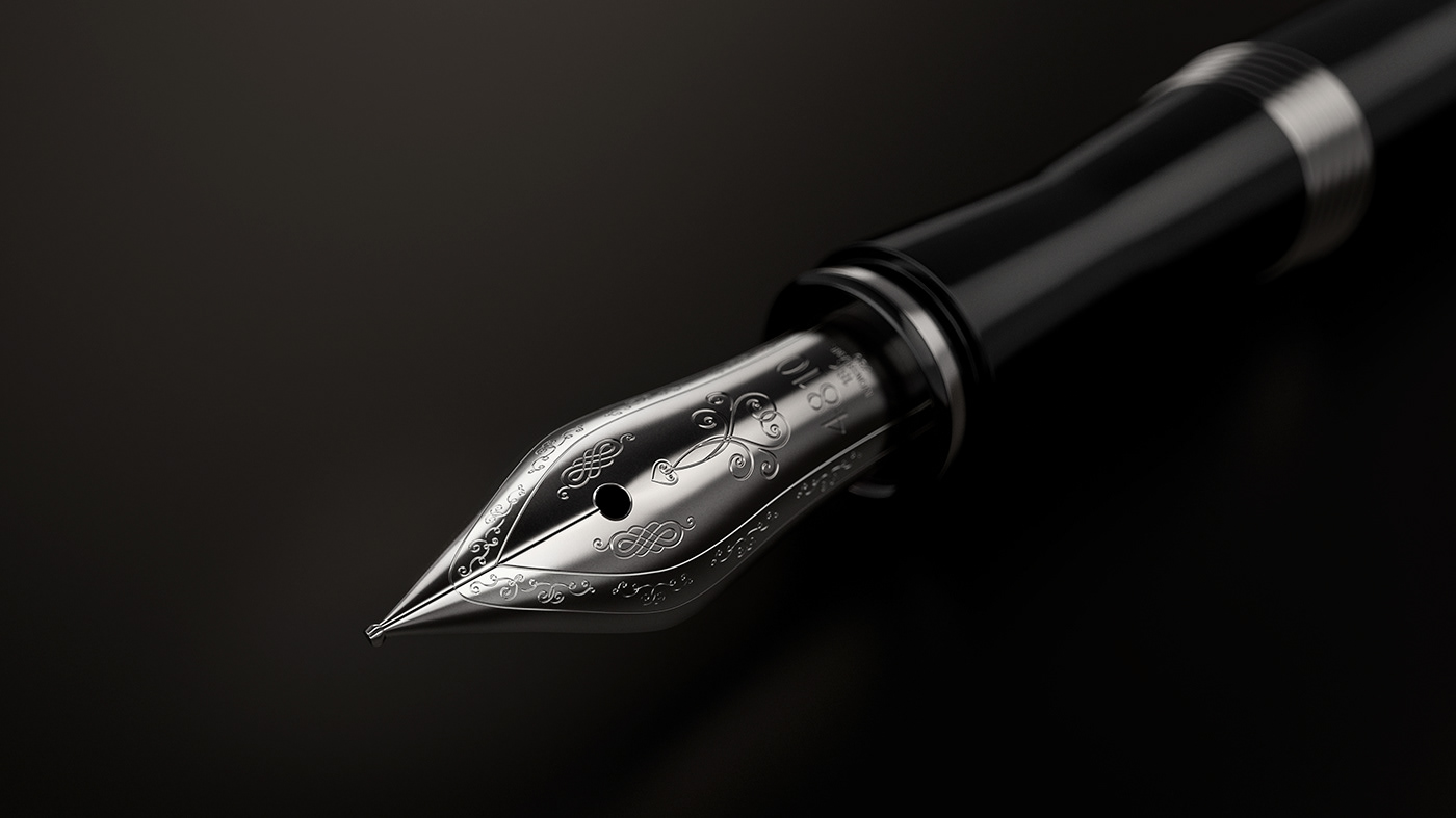 3D CGI montblanc fountain pen pen writing  ink vray luxury Visualising