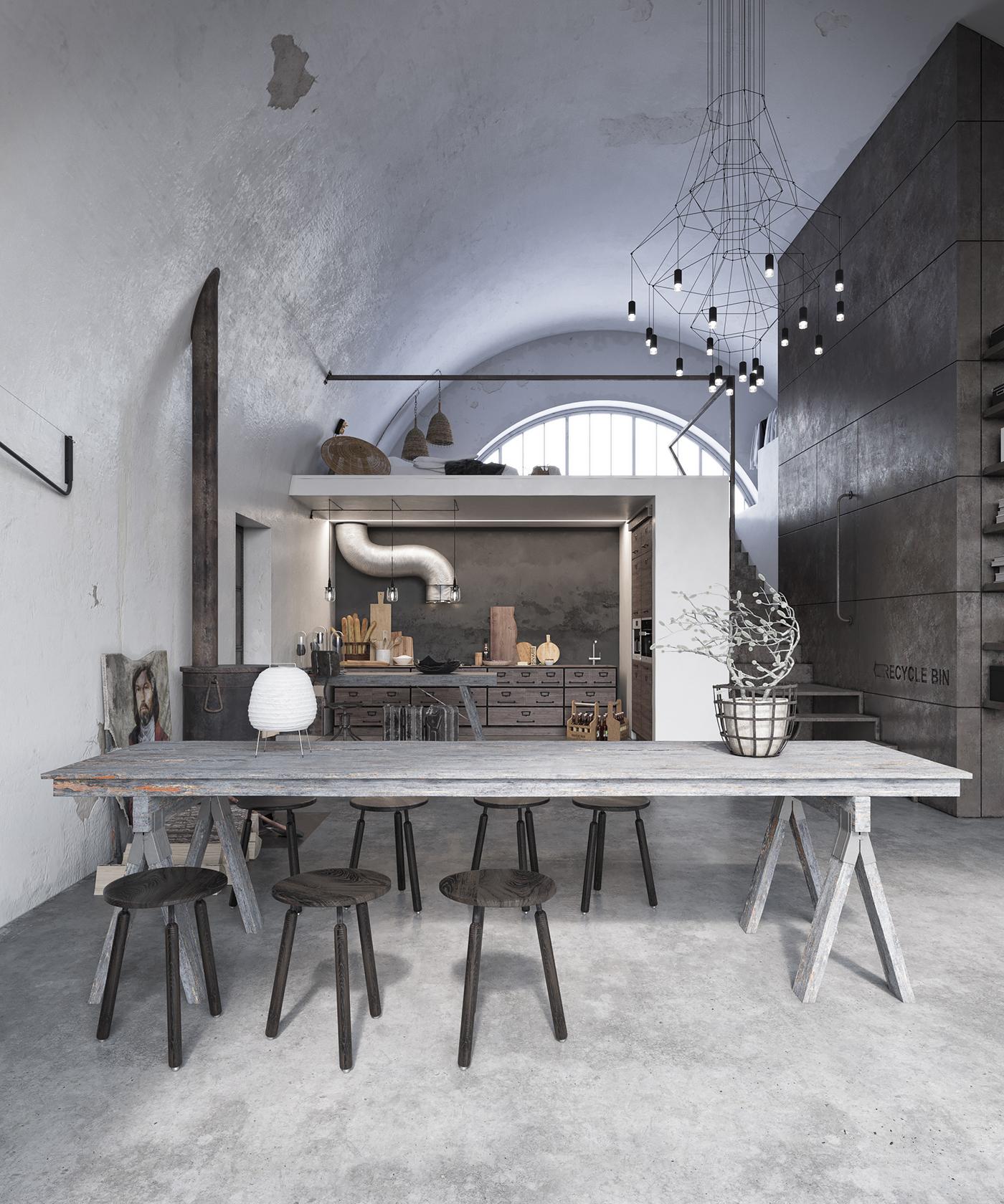 Grande table en bois dans l'espace cuisine