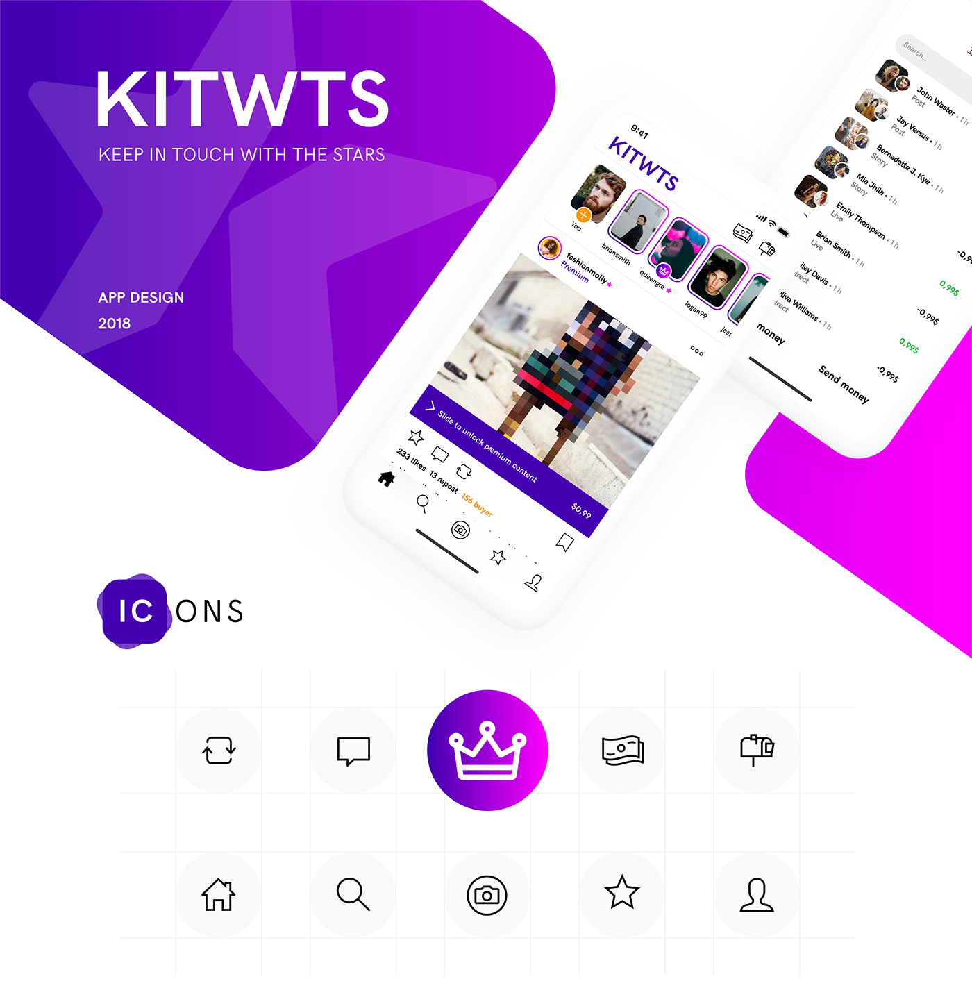 KITWTS social network mobile design application UI branding  follower smartphone animation