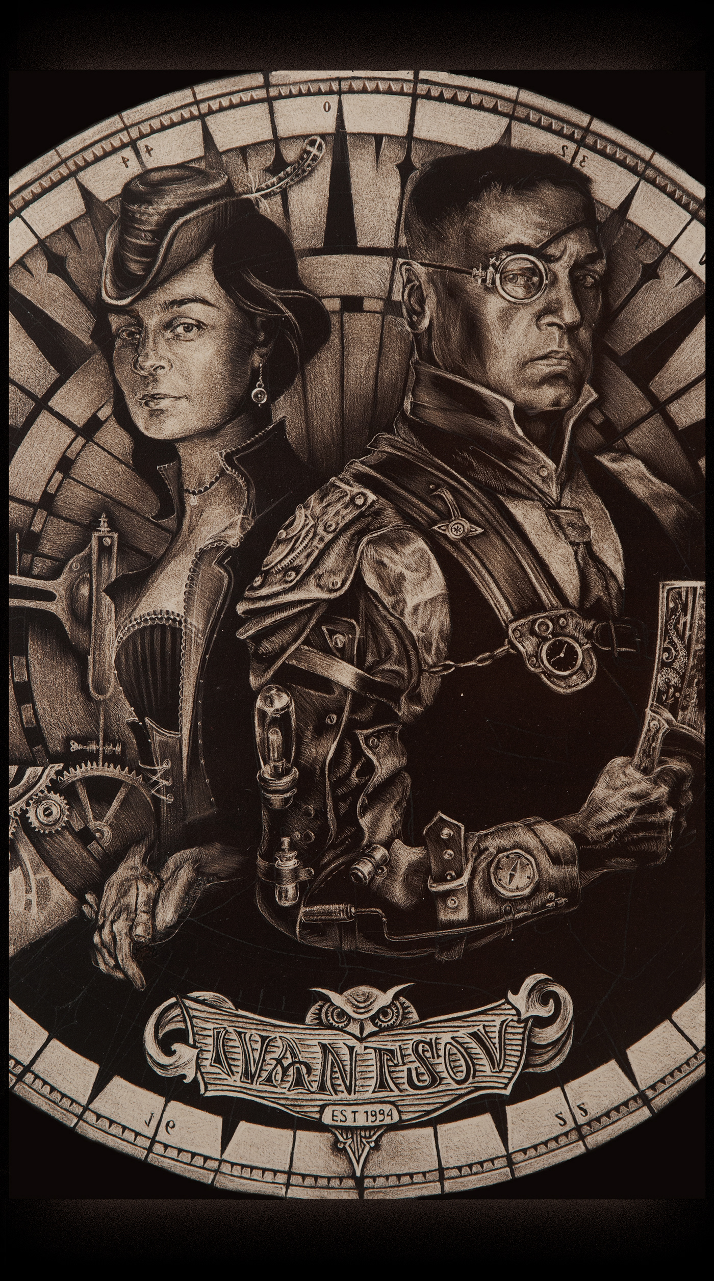 engraving lithography characters people STEAMPUNK costumes man and woman