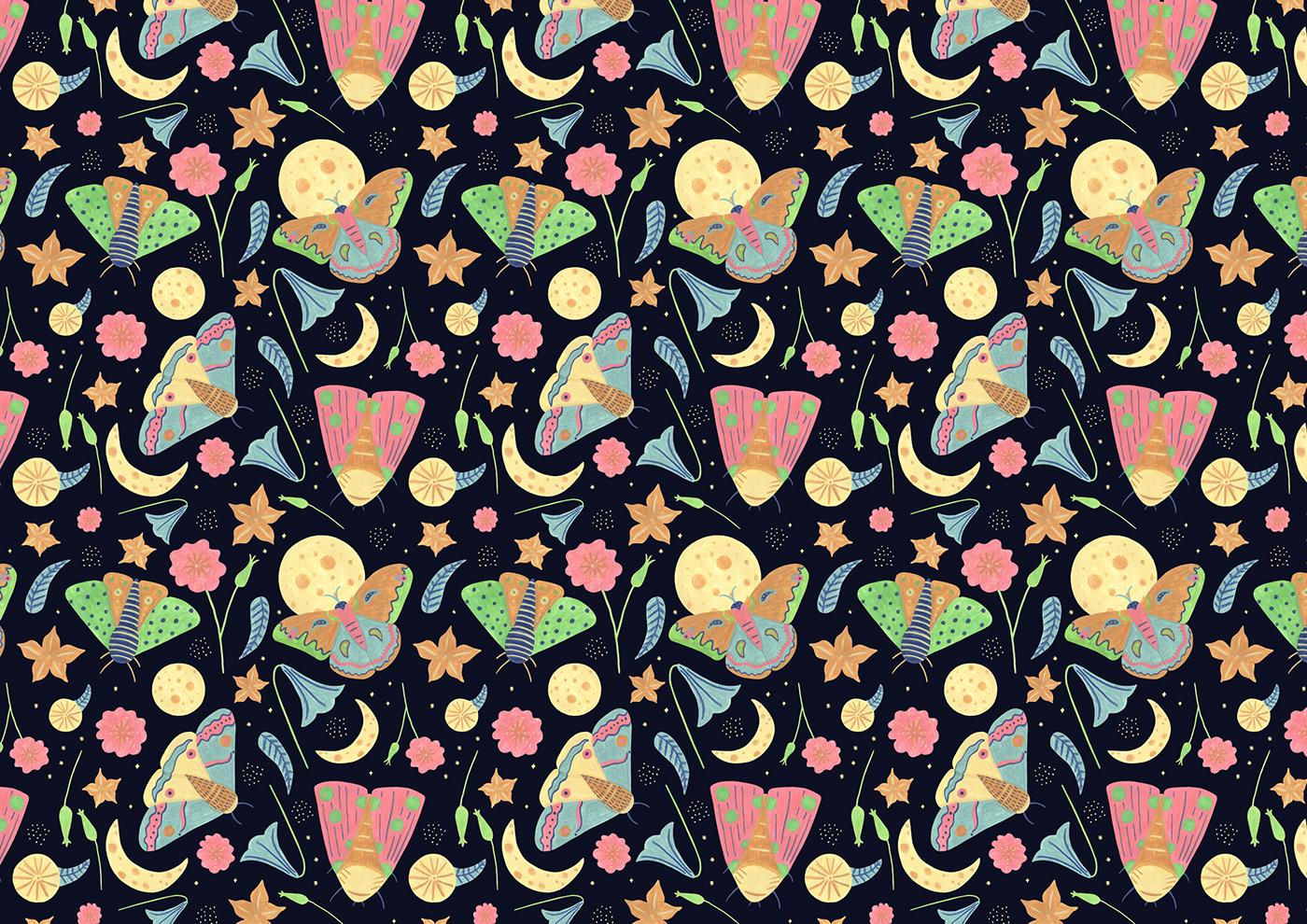 patterndesign surfacedesign moths night moon Nature garden gouache ILLUSTRATION  plants