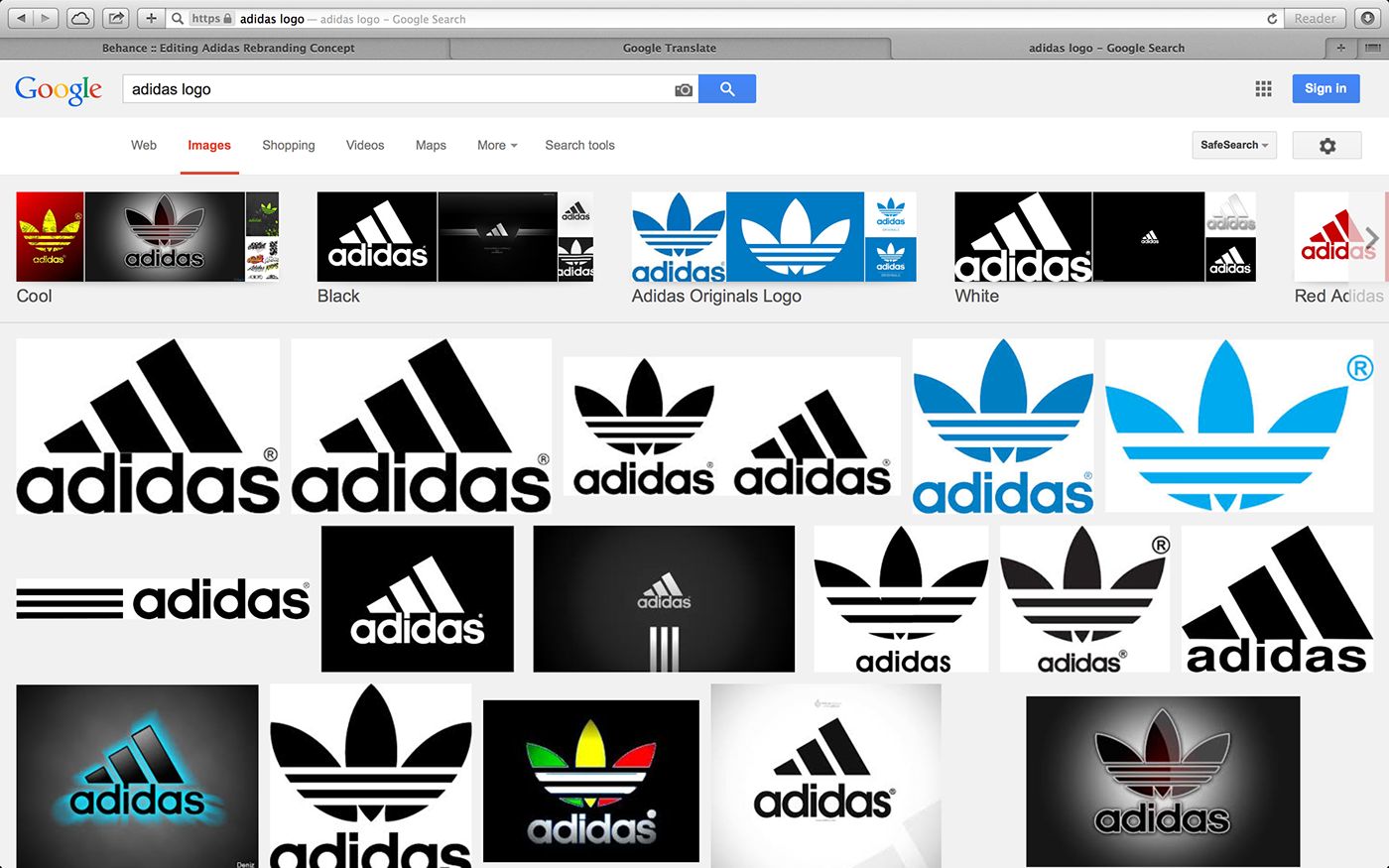 dc92eaf87ab Results of the search query  adidas logo  in Google. Only one of the image  results is the main logo of Adidas.