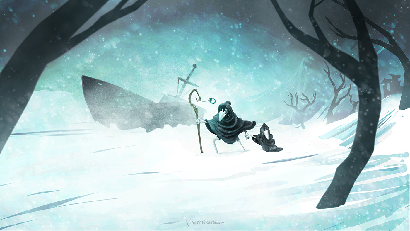 Blizzard snow winter cartoon digital painting storm vincent baurens Character design  surrealist