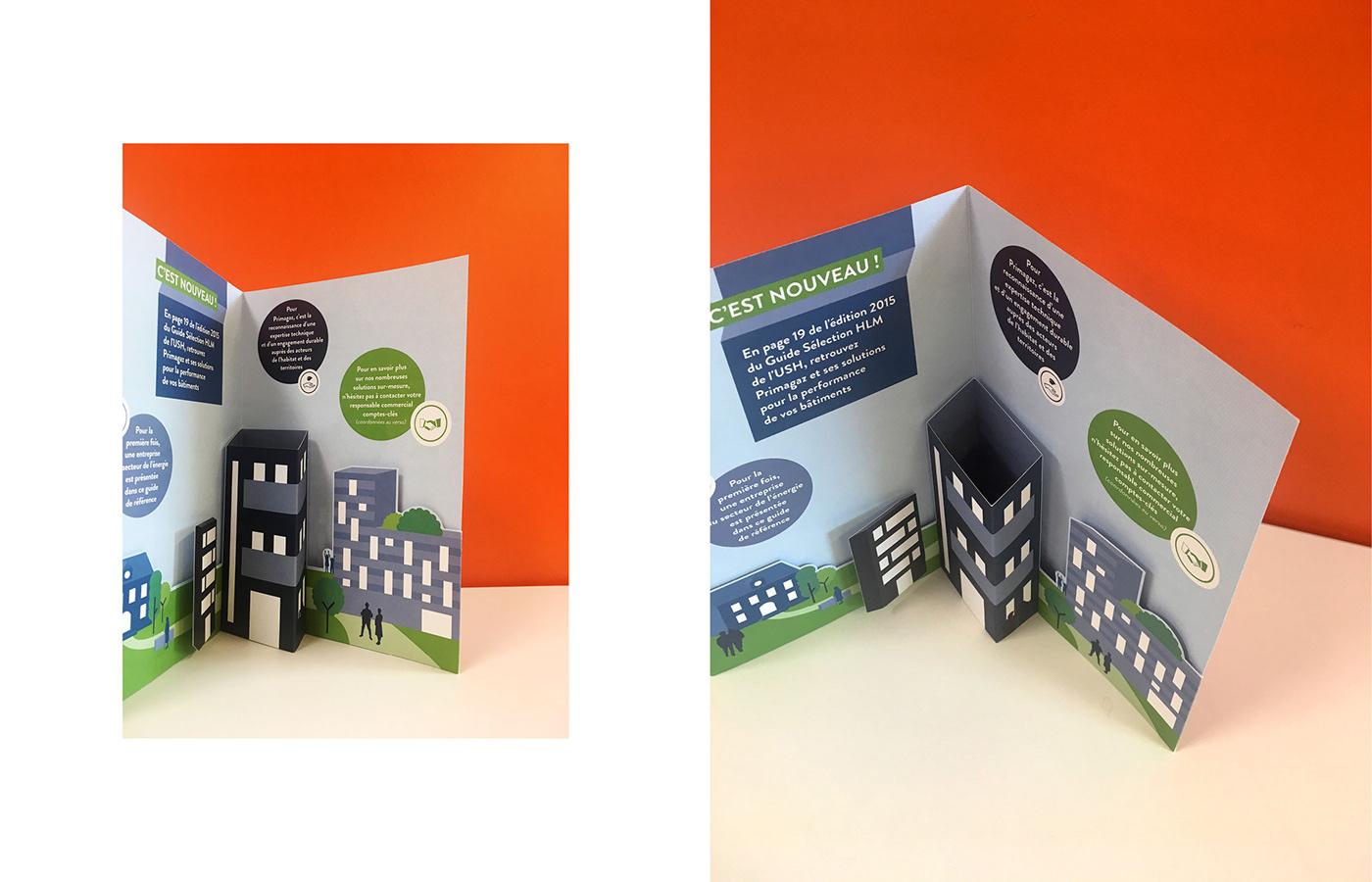 3D Carte ILLUSTRATION  papier pliage pop-up print relief