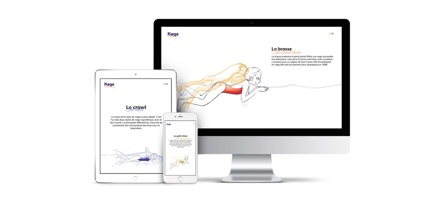 animals ILLUSTRATION  swimming Webdesign