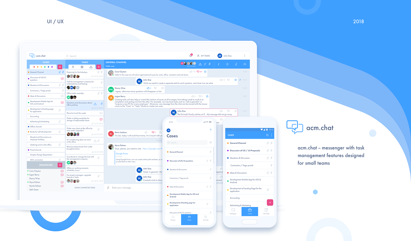 acm.chat - web and mobile business messenger app on Behance