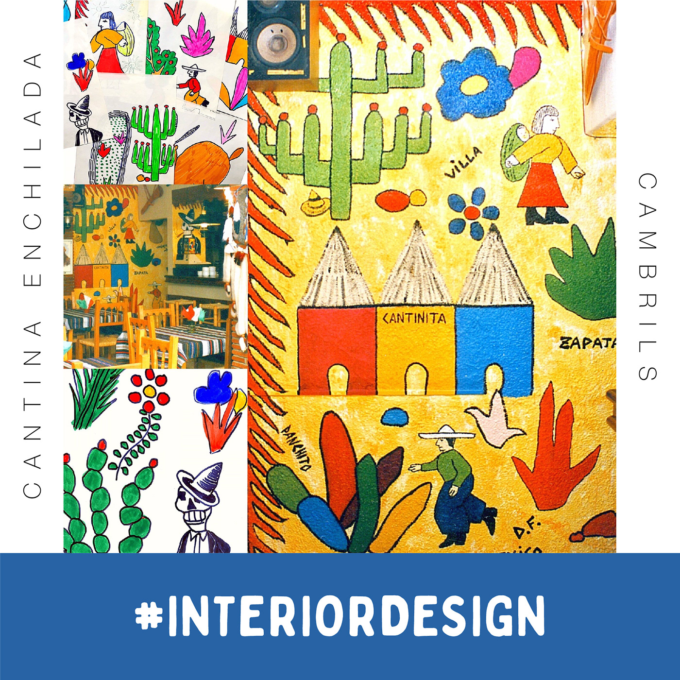 "Dibujos originales para murales en cantina mexicana ""La Enchilada"""